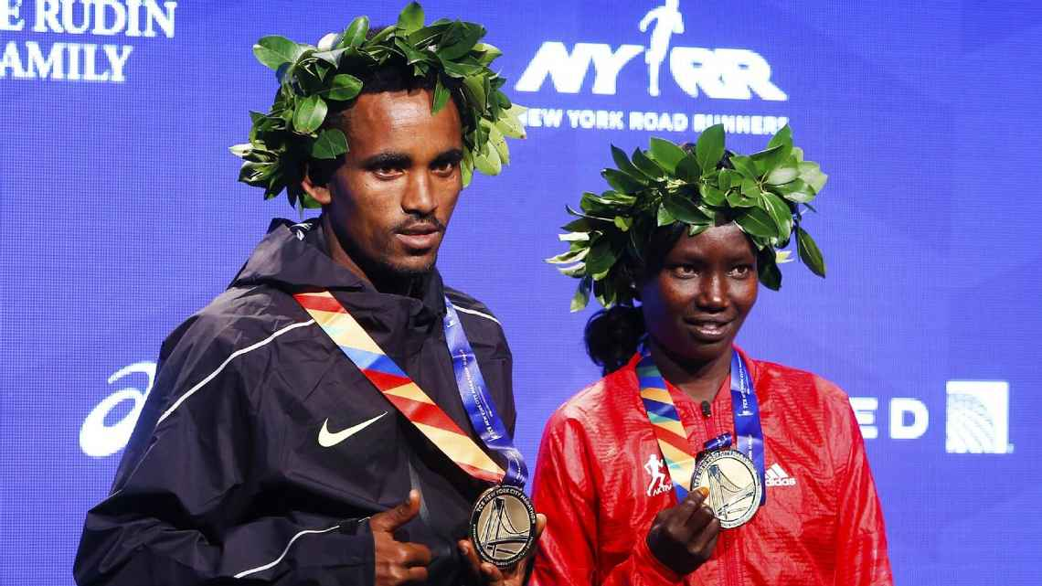 Ghirmay Ghebreslassie and Mary Keitany 2016 NYC Marathon