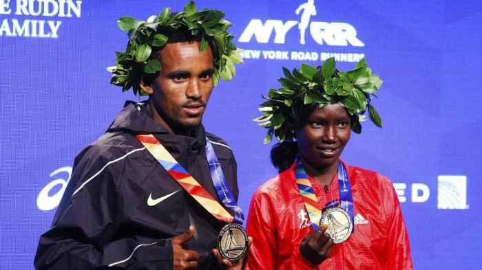 Ghirmay Ghebreslassie and Mary Keitany 2016 NYC Marathon