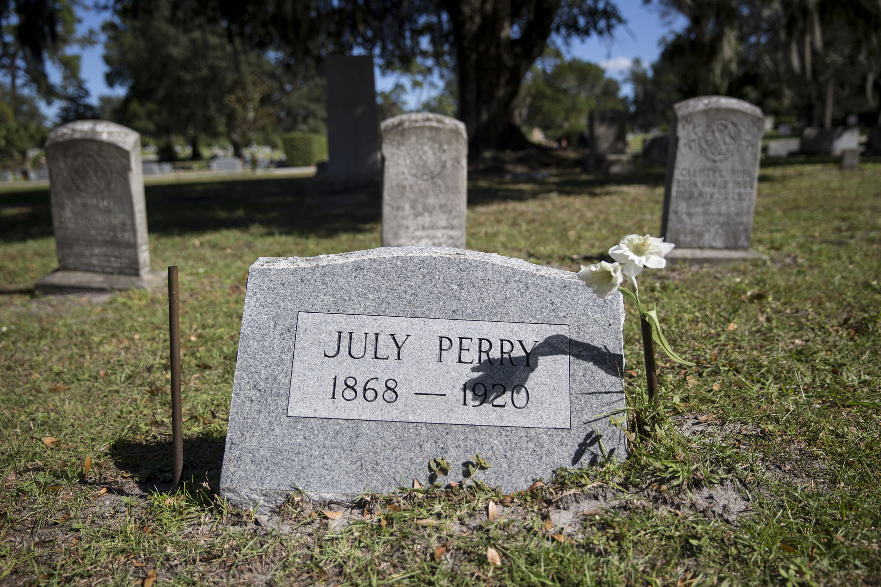 July Perry's grave which is at Greenwood Cemetery in Orlando.