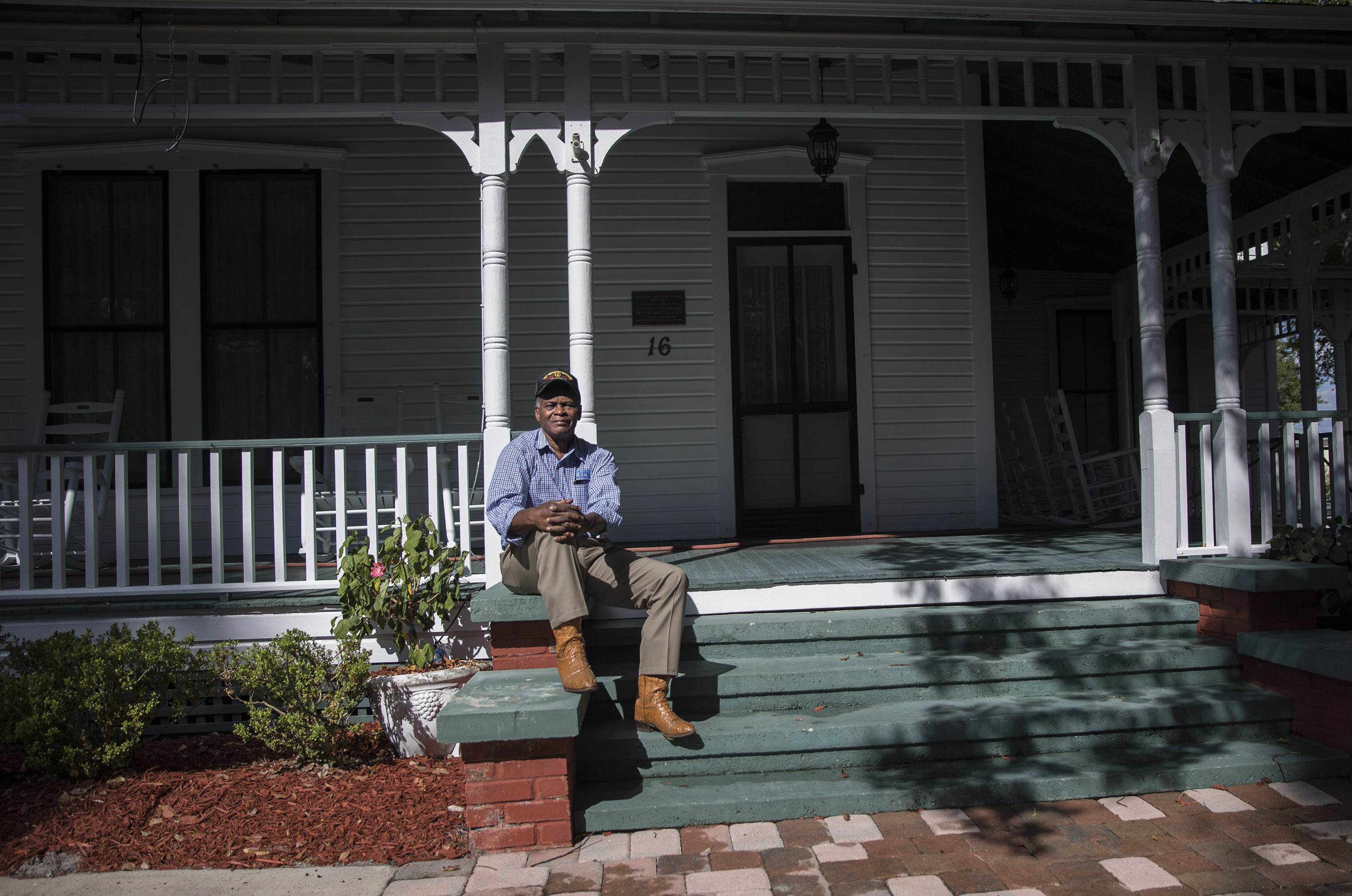 Portrait of William Maxwell in in front of the historical McGuire House in downtown Ocoee, Fla.