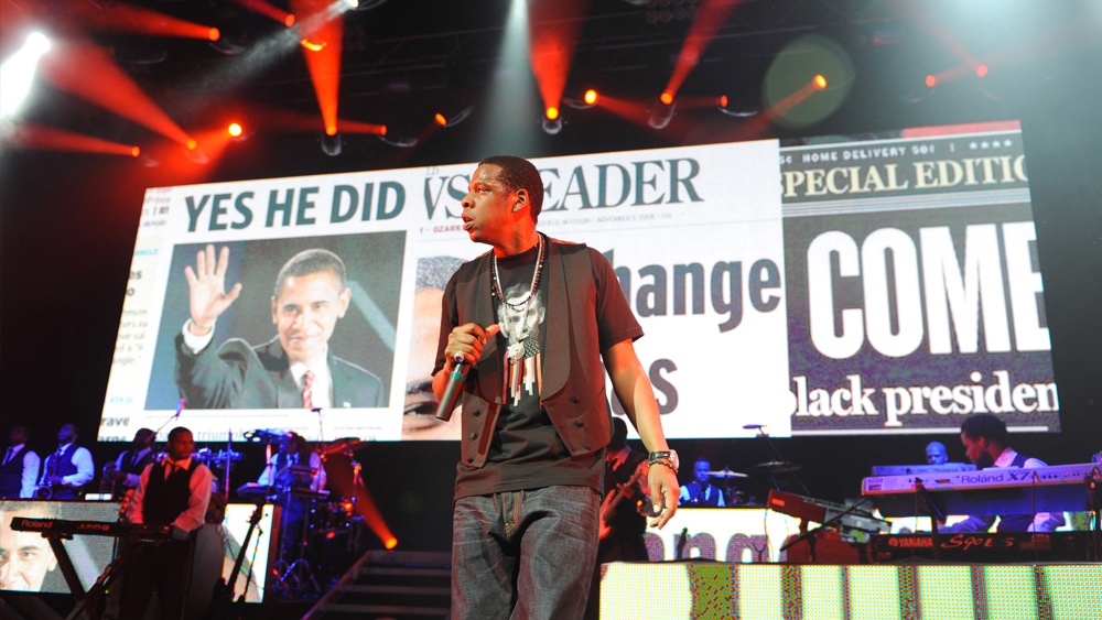 "Obama supporter Jay-Z performed a ""Concert on the Eve of Change"" before Obama's first inaugural and, like many rap artists, incorporated references to the president in his lyrics."
