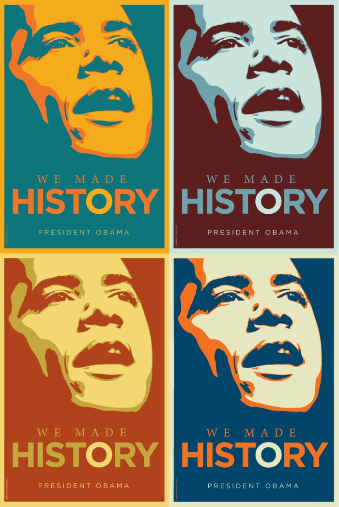 Designer Deroy Peraza was one of several artists who produced posters celebrating Obama's historic election.