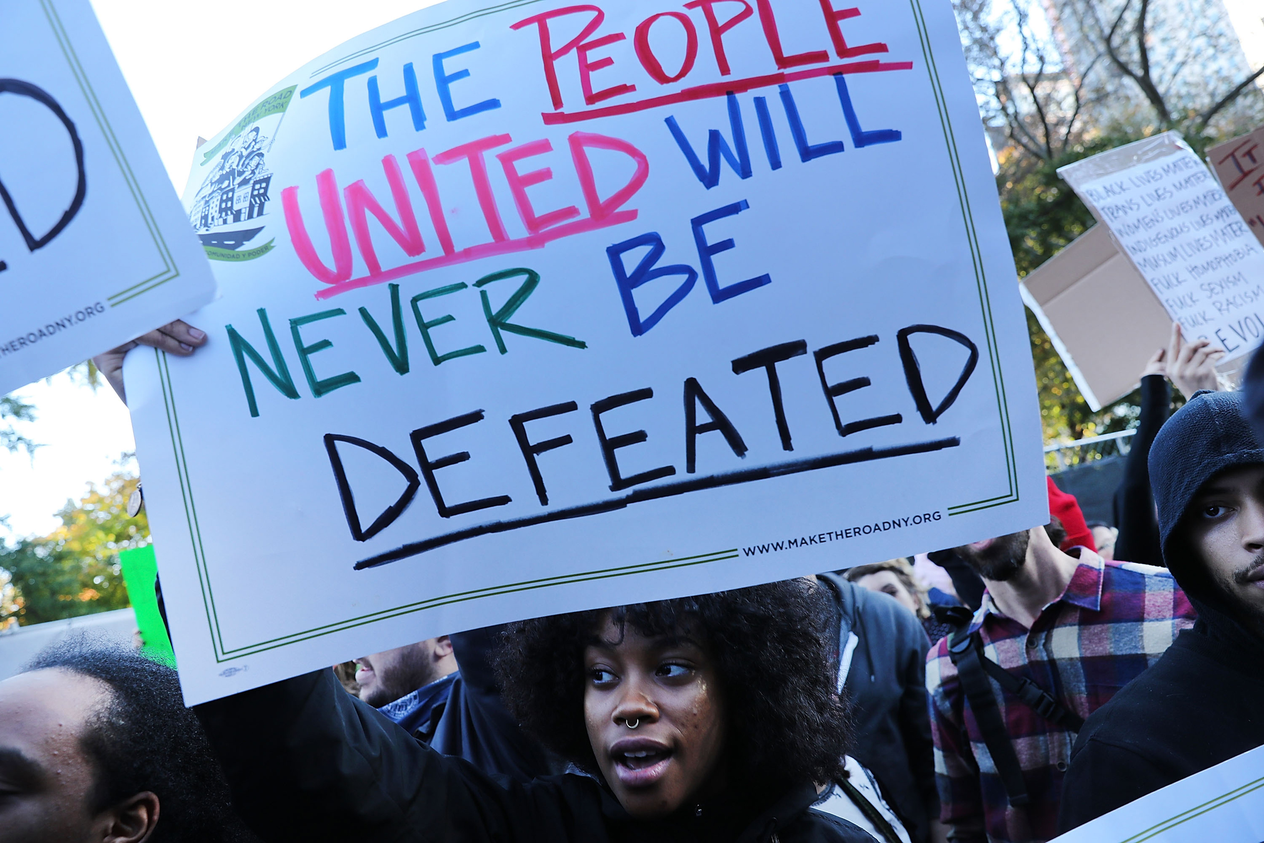 Thousands of anti-Donald Trump protesters, including many pro-immigrant groups, hold a demonstration outside of a Trump property as New Yorkers react to the election of Donald Trump as President of the United States on November 13, 2016 in New York City.