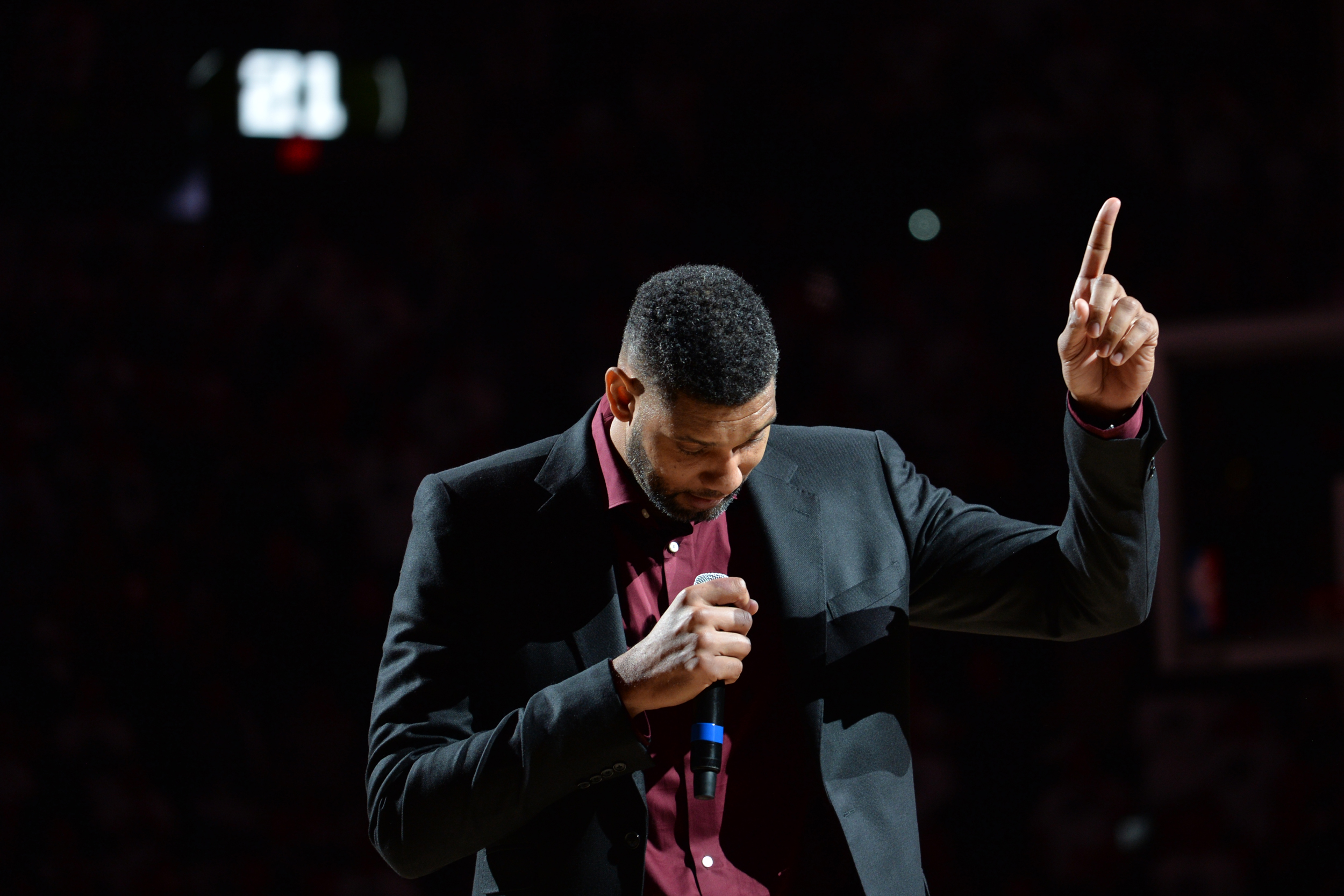 NBA Legend Tim Duncan is honored at his jersey retirement ceremony on December 18, 2016 at the AT&T Center in San Antonio, Texas.