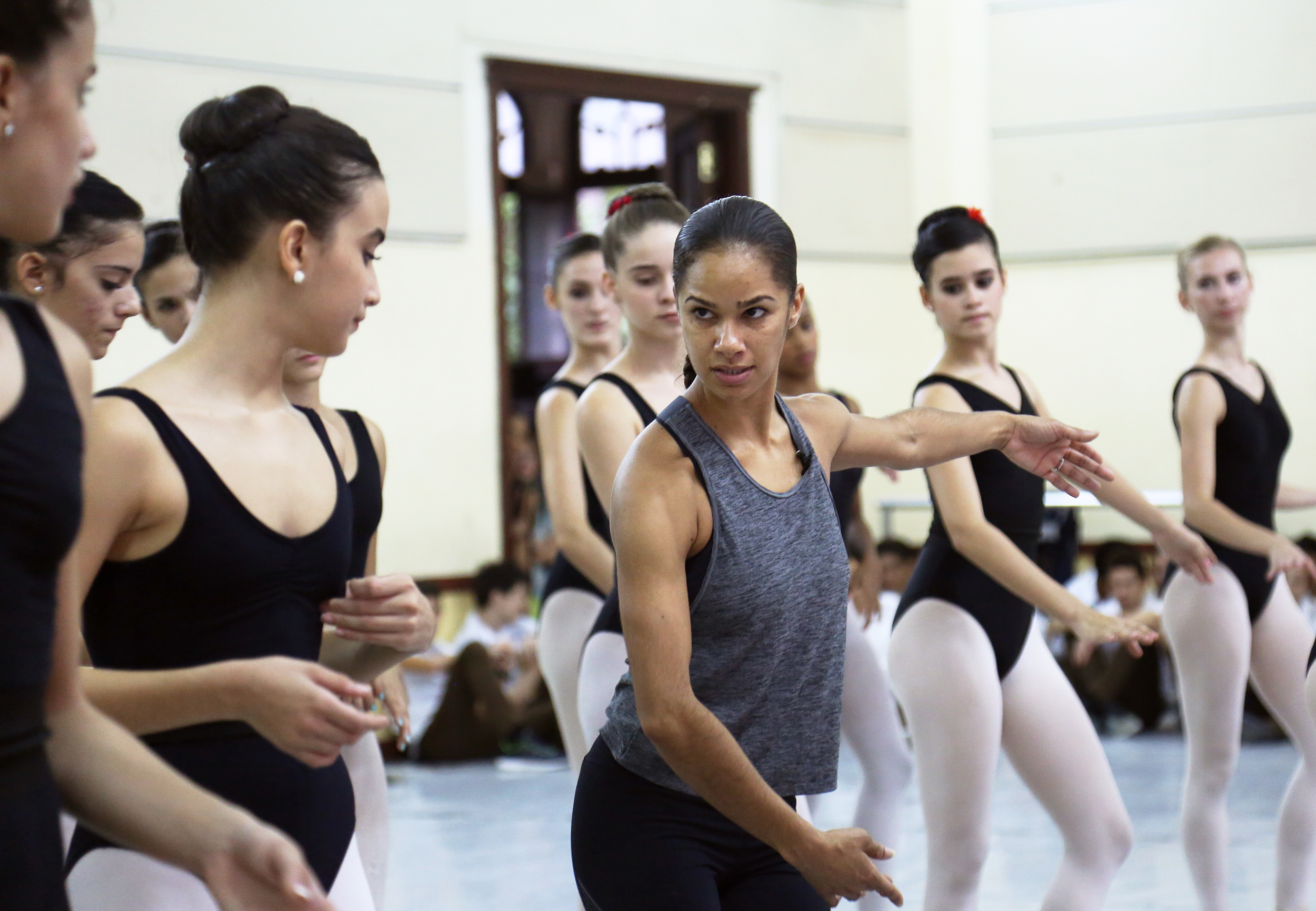 Misty Copeland works with the students at the National Ballet School in Havana.