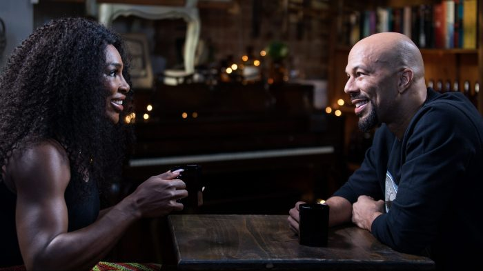 Common and Serena Williams sit down for an interview at Urban Vintage cafe in Clinton Hill Brooklyn, New York.
