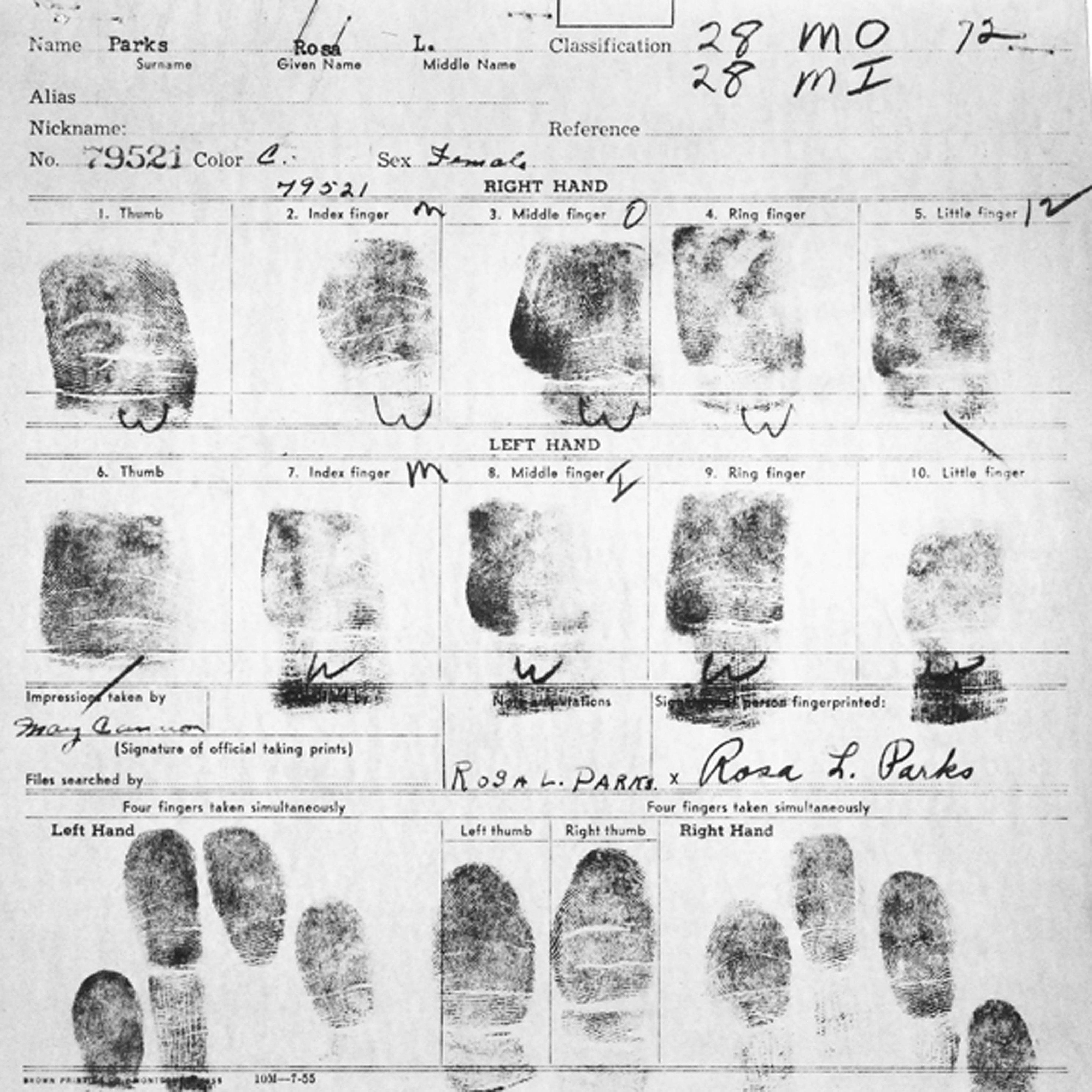 Fingerprint Card of Rosa Parks Civil Case