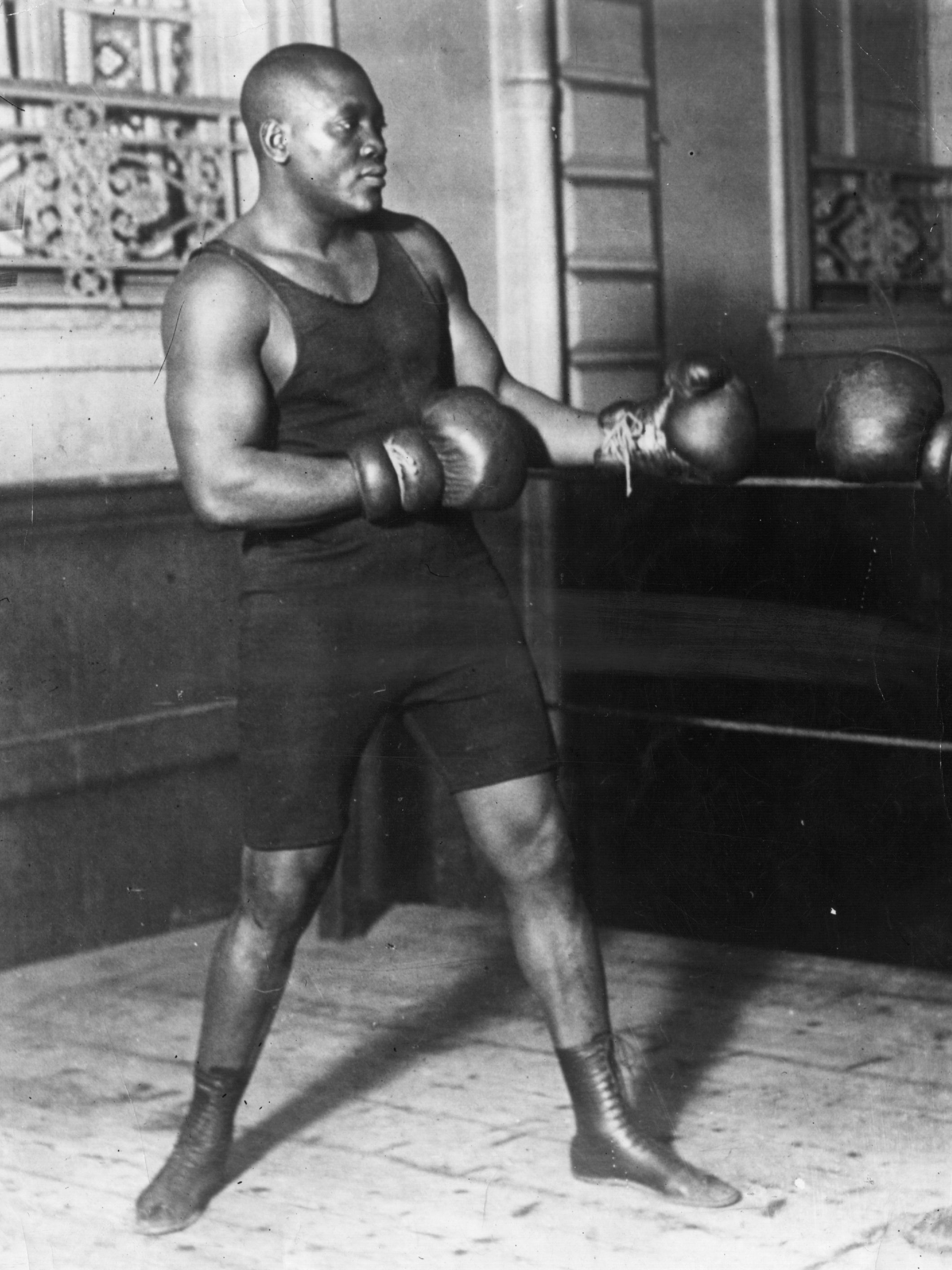 American heavyweight boxer Jack Johnson in action sparring.