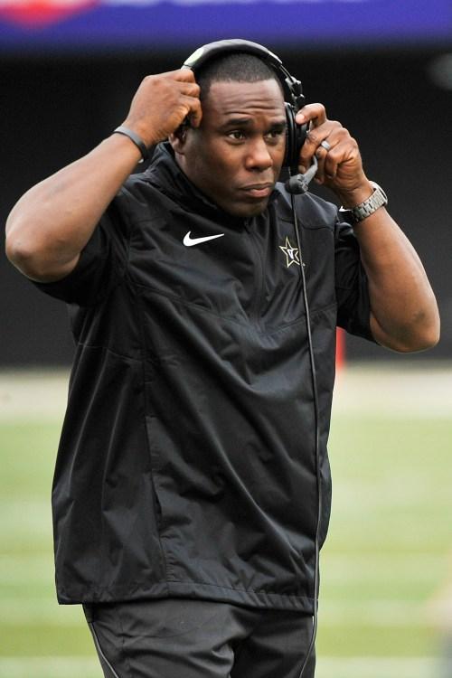 Head coach Derek Mason of the Vanderbilt Commodores coaches against the University of Massachusetts Minutemen at Vanderbilt Stadium on September 13, 2014 in Nashville, Tennessee.
