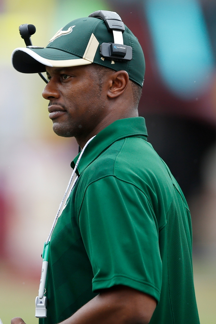 Head coach Willie Taggart of the South Florida Bulls looks on against the Florida State Seminoles during the game at Doak Campbell Stadium on September 12, 2015 in Tallahassee, Florida.