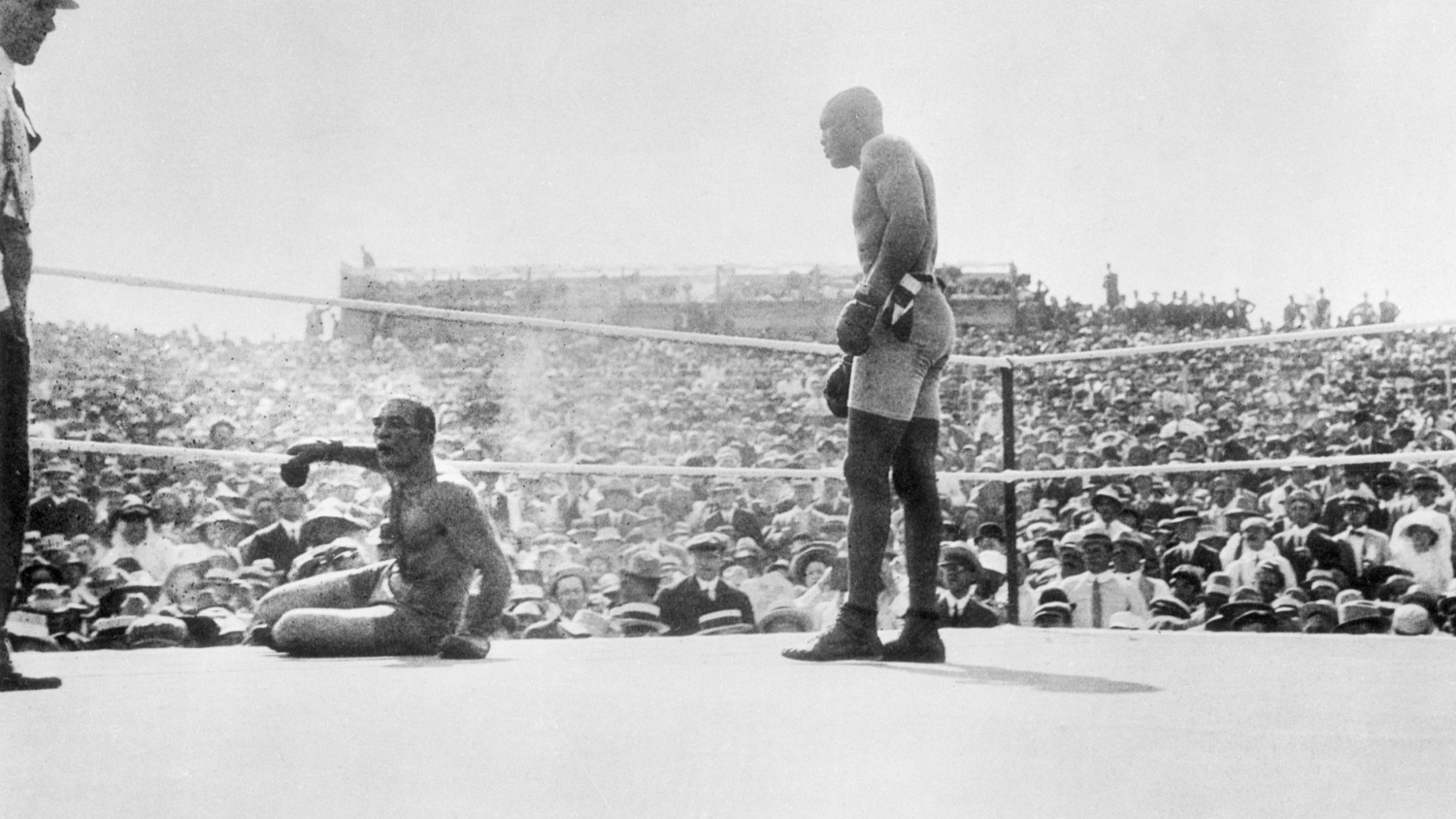 Jack Johnson In Ring With Fallen James Jeffries