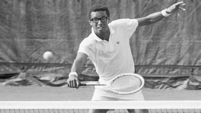 Arthur Ashe on Tennis Court
