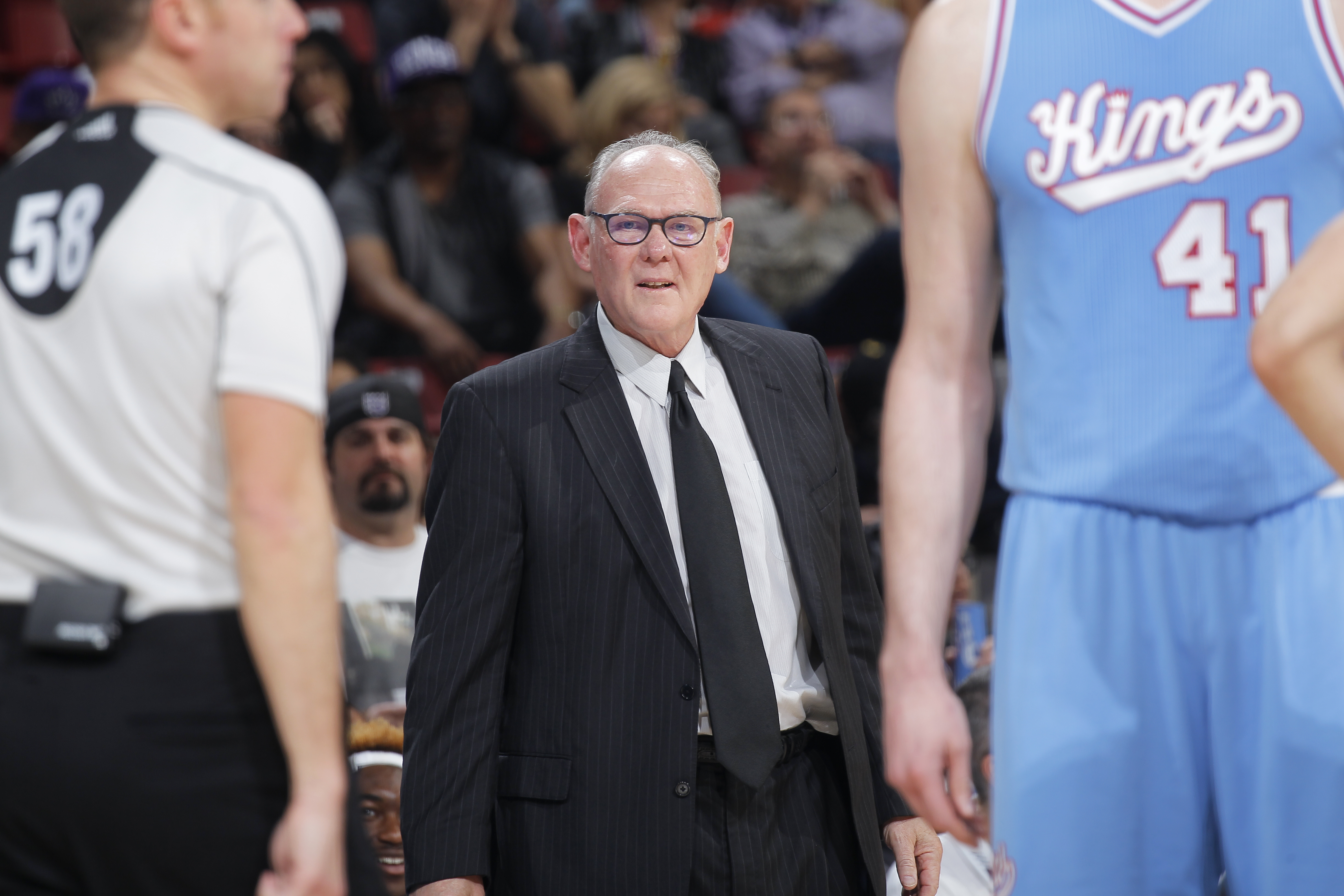 Head coach George Karl of the Sacramento Kings coaches against the Miami Heat on April 1, 2016 at Sleep Train Arena in Sacramento, California.