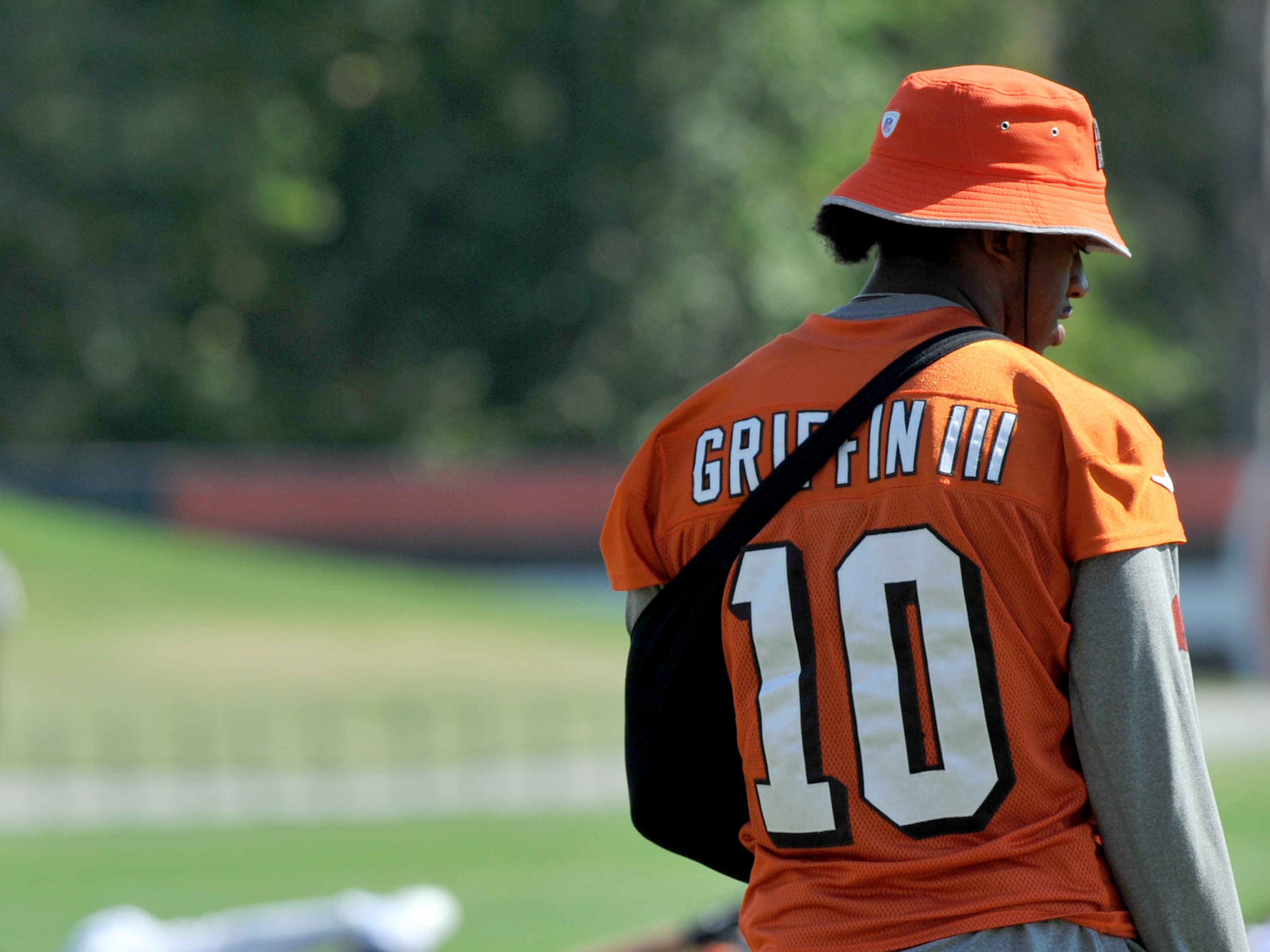Quarterback Robert Griffin III  10 of the Cleveland Browns walks onto the  field during practice on September 22 18f523c98