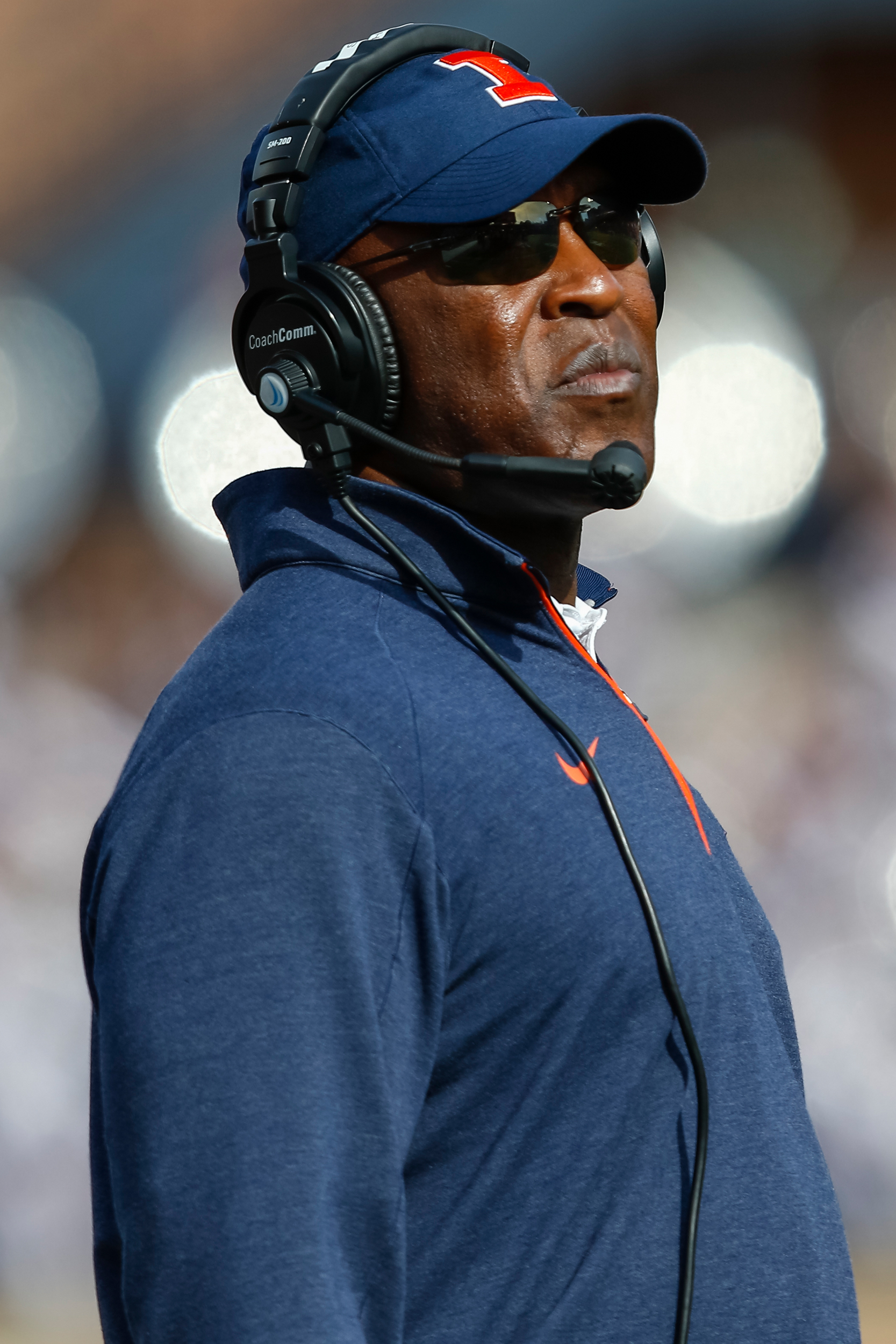 Head coach Lovie Smith of the Illinois Fighting Illini is seen during the game against the Michigan State Spartans at Memorial Stadium on November 5, 2016 in Champaign, Illinois.