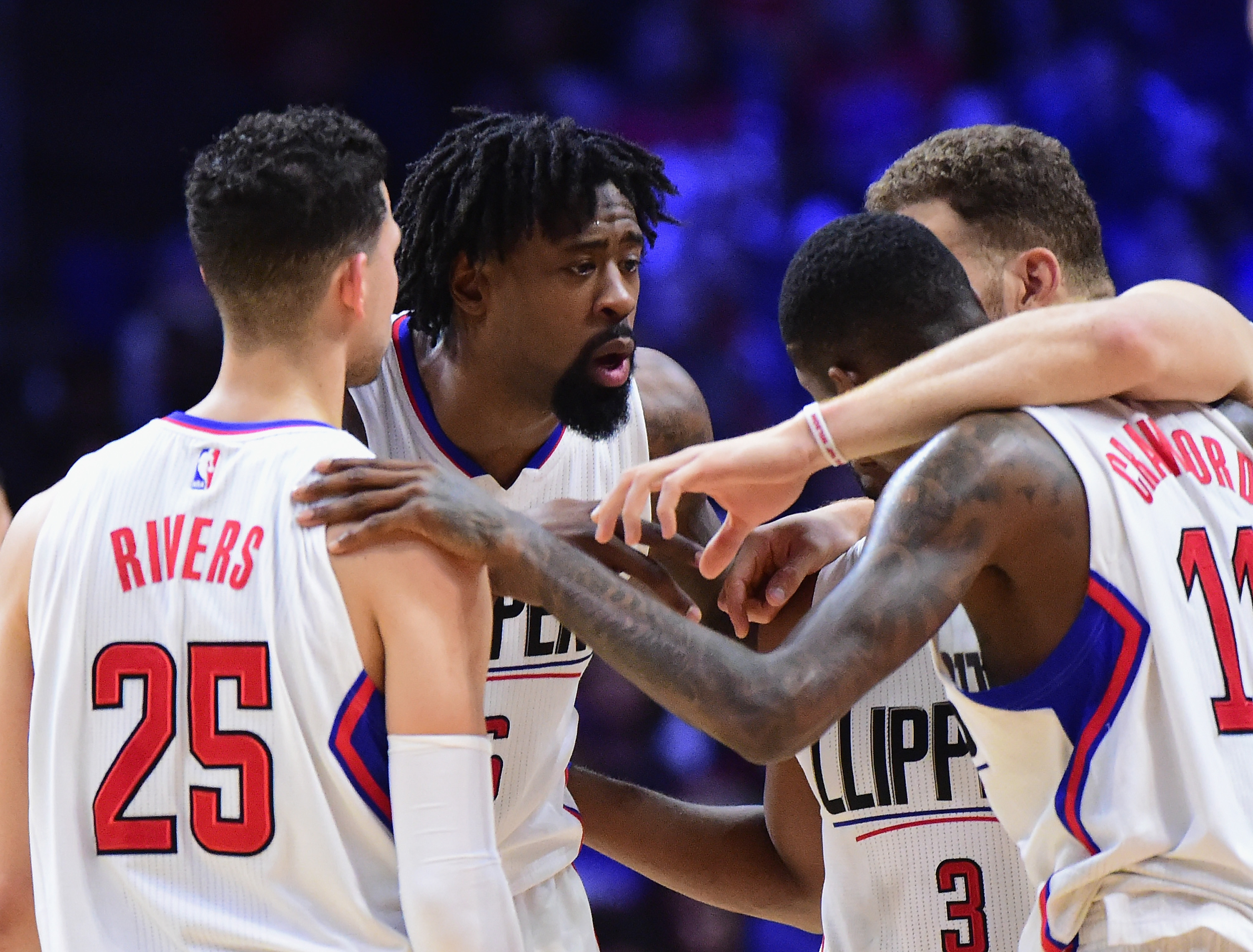 DeAndre Jordan #6 of the LA Clippers speaks to his teammates during a 111-107 loss to the Memphis Grizzlies at Staples Center on November 16, 2016 in Los Angeles, California.