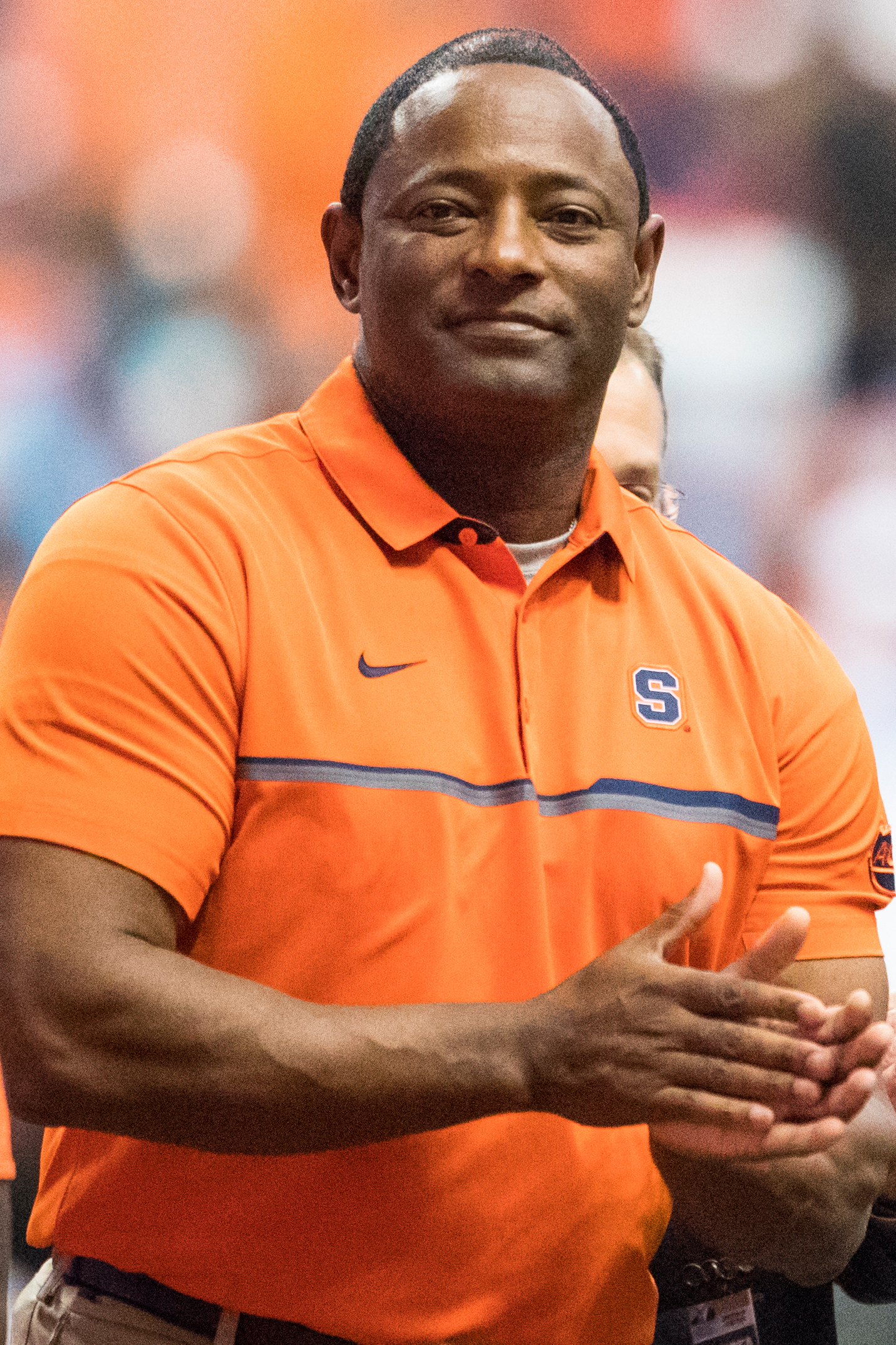 Head coach Dino Babers of the Syracuse Orange congratulates senior players before the game against the Florida State Seminoles on November 19, 2016 at The Carrier Dome in Syracuse, New York.