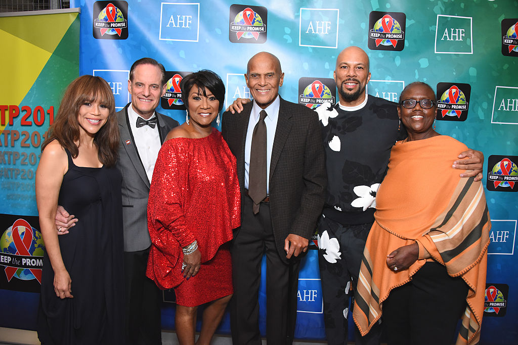 (L-R) Actress Rosie Perez, AHF President David Weinstein, singer Patti LaBelle, singer Harry Belafonte, rapper Common and AHF Board Chair Cynthia Davis attend the AIDS Healthcare Foundations Keep the Promise Concert.