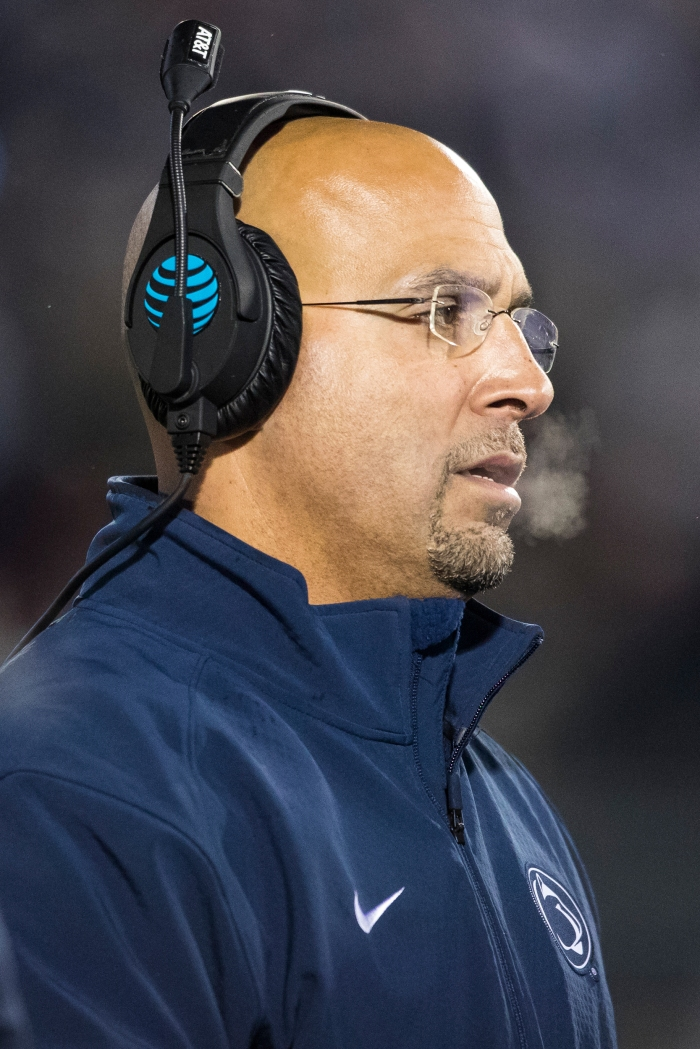 Head coach James Franklin of the Penn State Nittany Lions watches game action during the second half against the Michigan State Spartans on November 26, 2016 at Beaver Stadium in University Park, Pennsylvania.