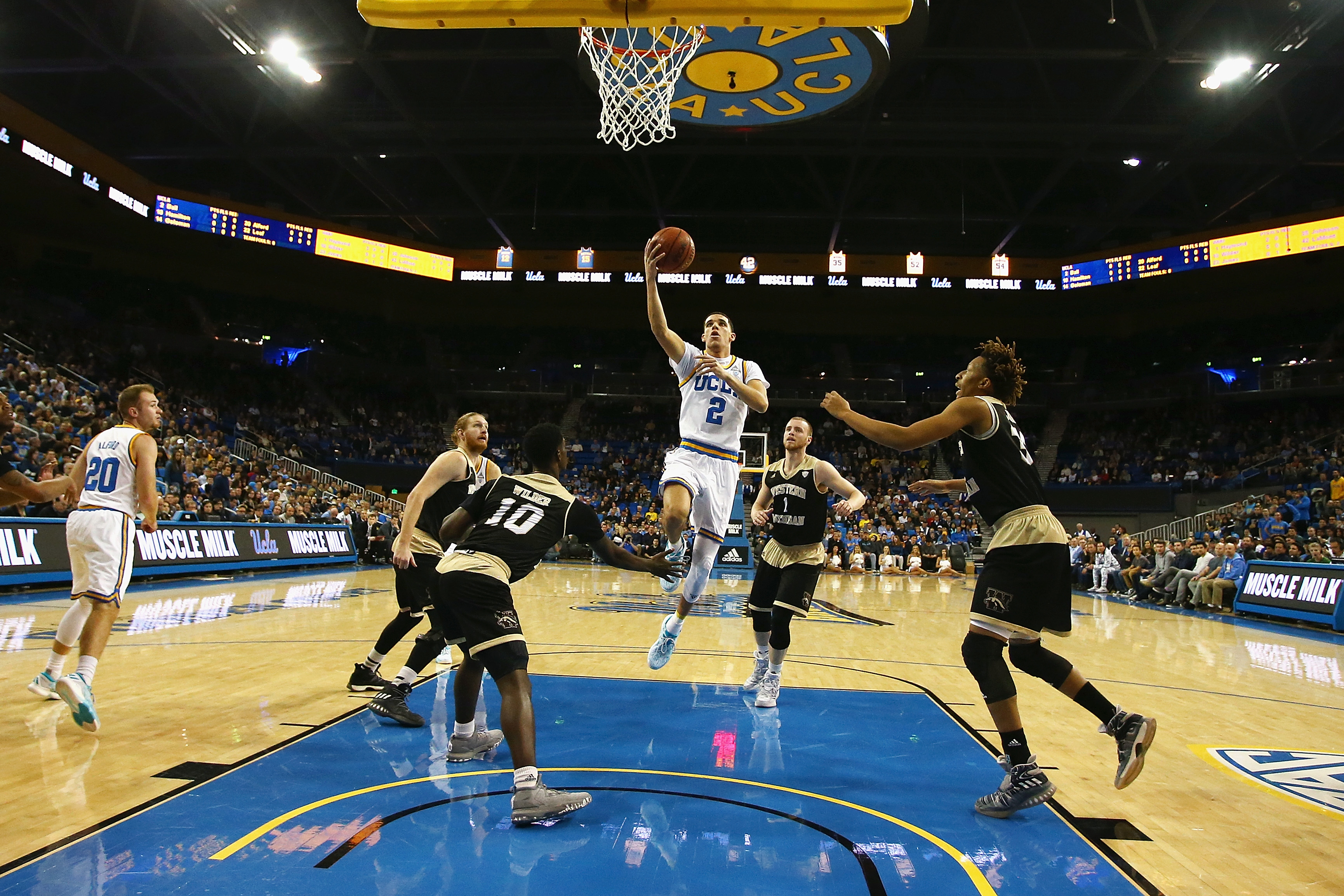 Lonzo Ball #2 of the UCLA Bruins drives to the basket during the first half against the Western Michigan Broncos at Pauley Pavilion on December 21, 2016 in Los Angeles, California.