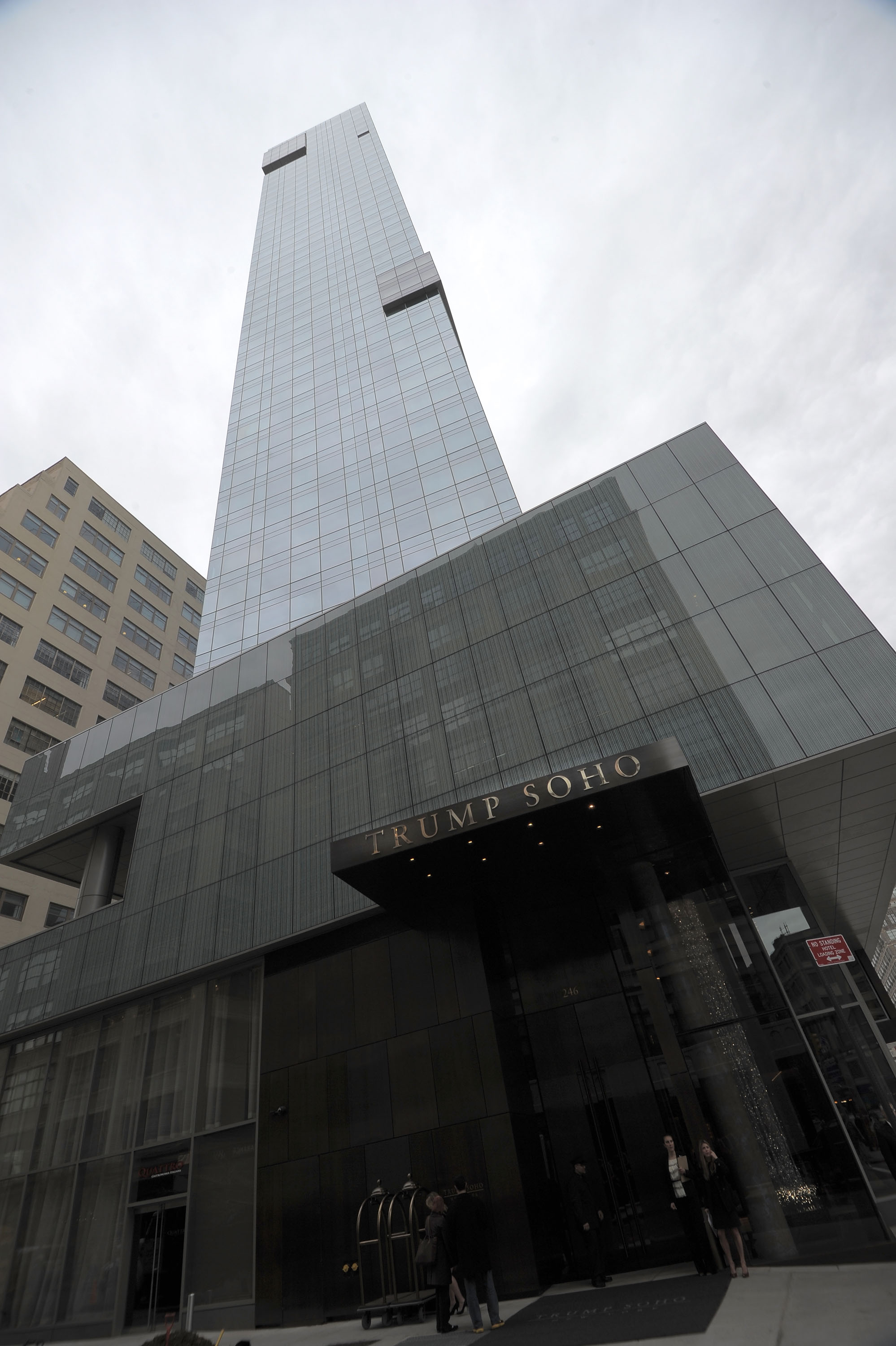 General view of the building exterior during the ribbon cutting ceremony for Trump SoHo New York at Trump SoHo on April 9, 2010 in New York City.