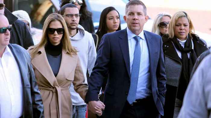 Saints head coach Sean Payton escorted the widow of Will Smith, Racquel, into the courthouse one day before the verdict. Michael DeMocker/NOLA.com The Times-Picayune via AP, File