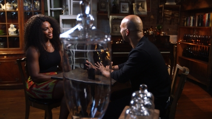 Serena Williams with Common in the studio