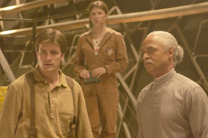 Ron Glass, right, on the set of Firefly.