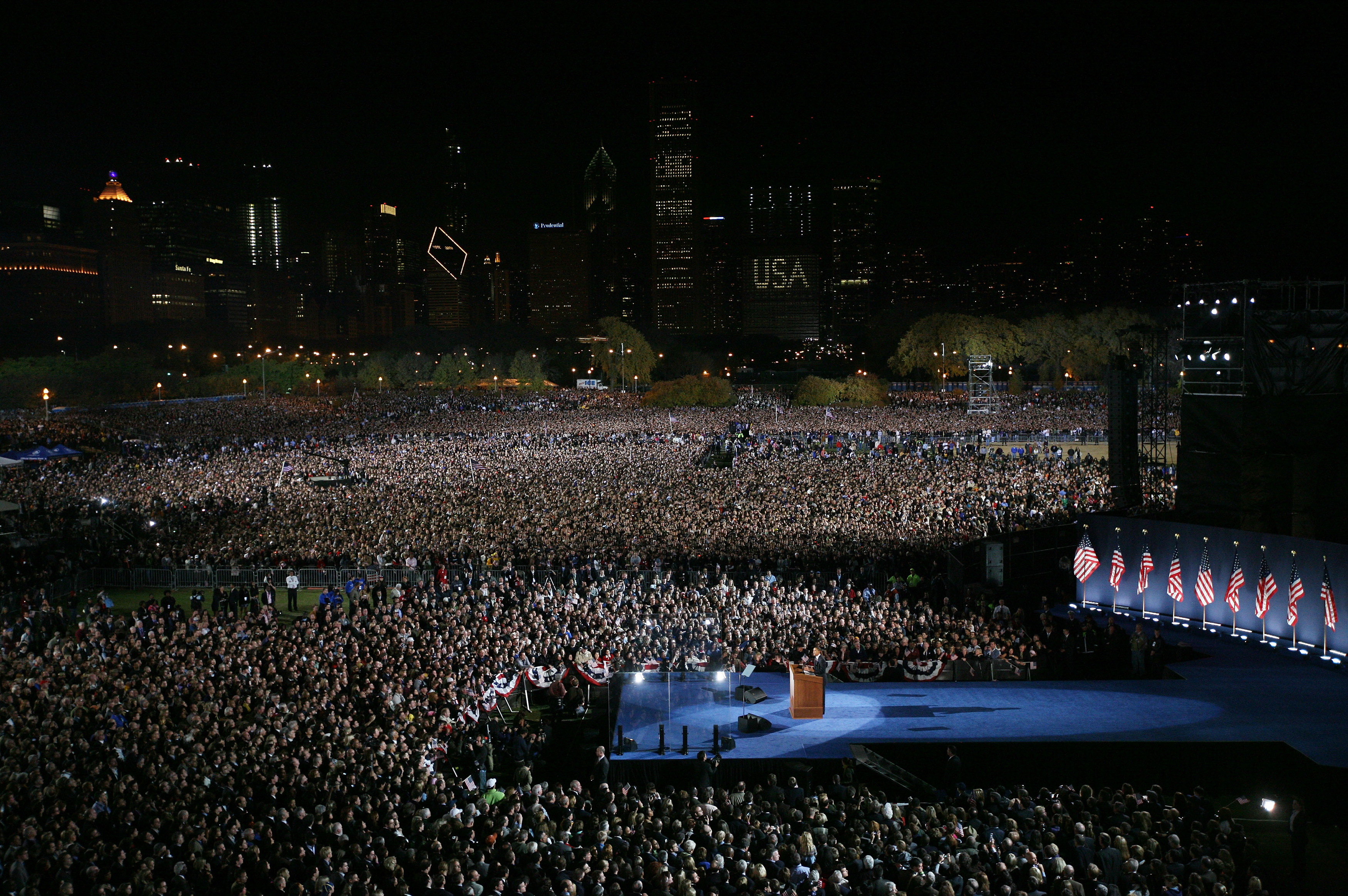 U.S. President elect Barack Obama gives his victory speech to supporters during an election night gathering in Grant Park Nov. 4, 2008, in Chicago.