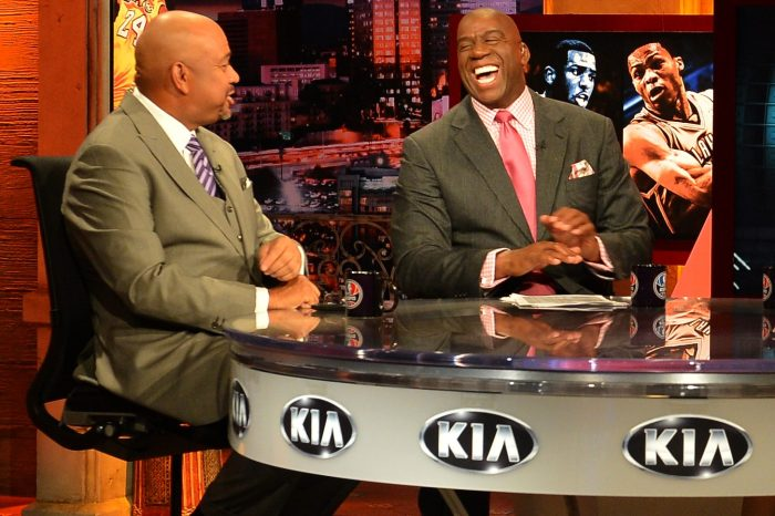 Michael Wilbon and Magic Johnson on the set of the Kia NBA Countdown show
