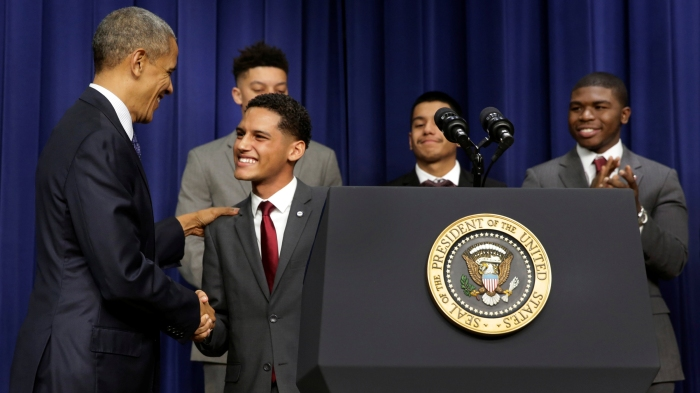 U.S. President Barack Obama greets attendees at the My Brother's Keeper Summit in Washington