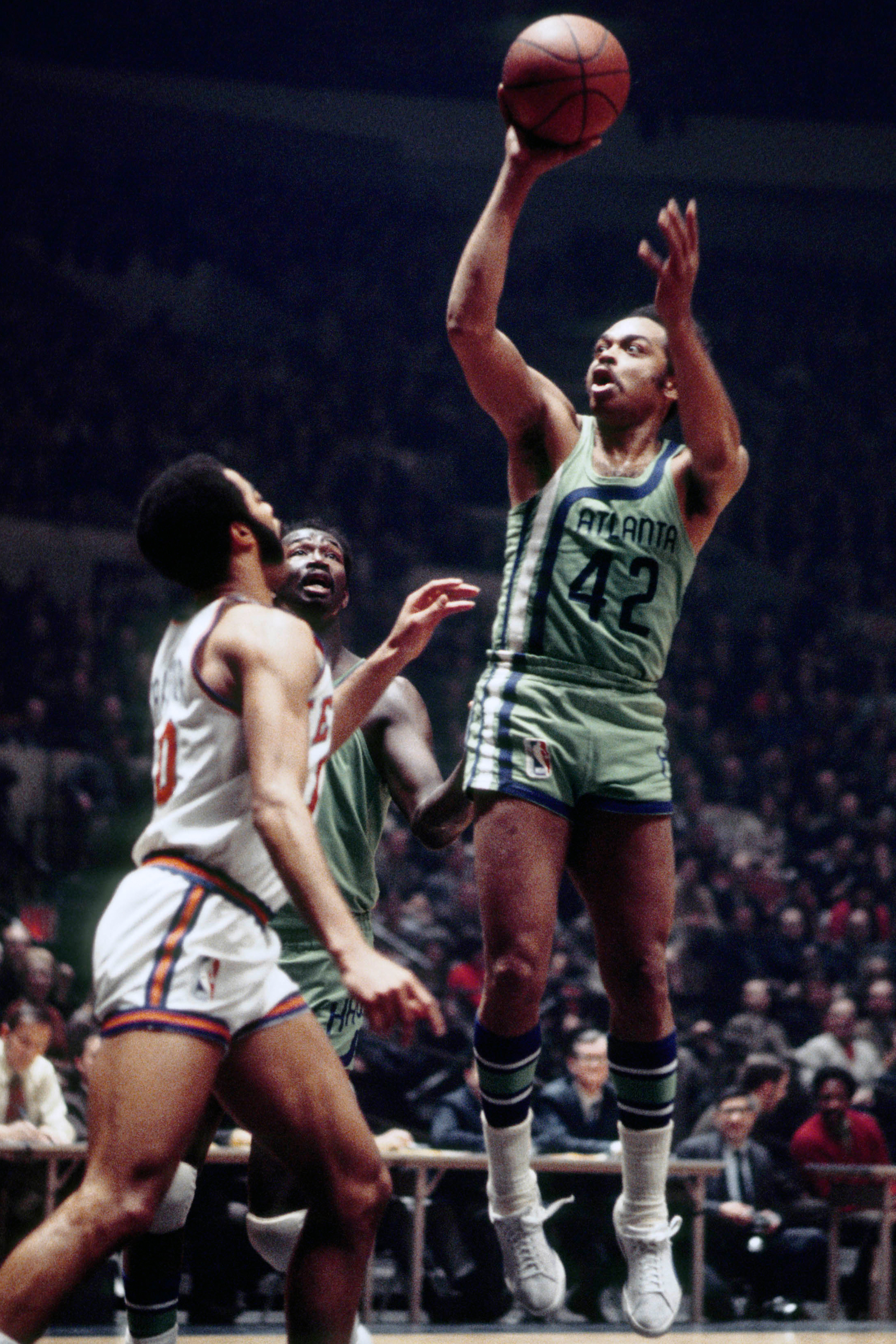 Atlanta Hawks guard Walt Hazzard (42), also known as Mahdi Abdul-Rahman in action against the New York Knicks at Madison Square Garden.
