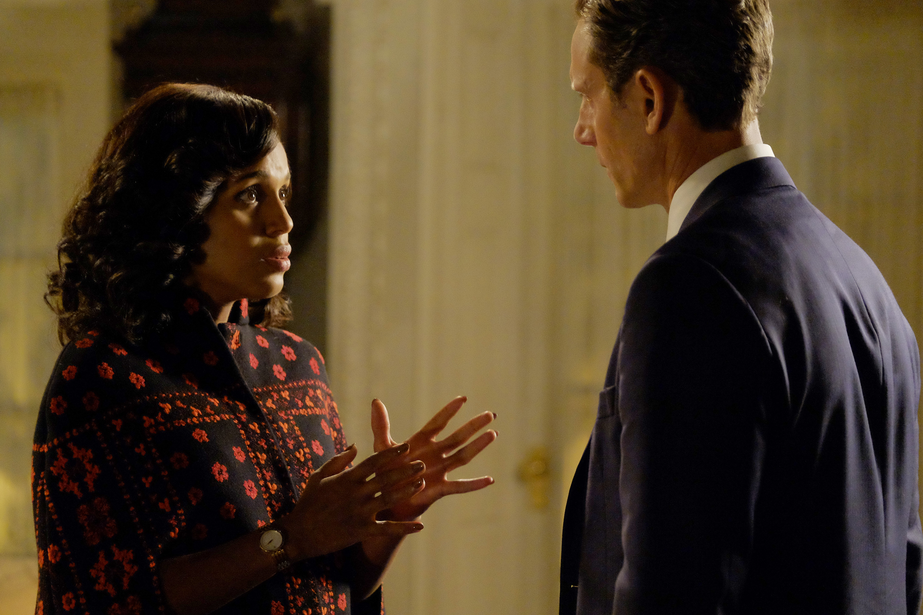"The election results for the presidential race between Mellie Grant and Francisco Vargas are announced, and the shocking results lead to an explosive outcome, on the highly anticipated season premiere of ""Scandal."""