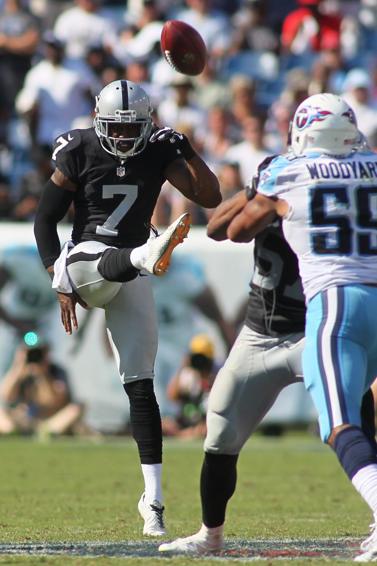 September 25 2016: Oakland Raiders Punter Marquette King (7) during game action. The Tennessee Titans were defeated by the Oakland Raiders 17-10 at LP Nissan Stadium in Nashville, Tn.