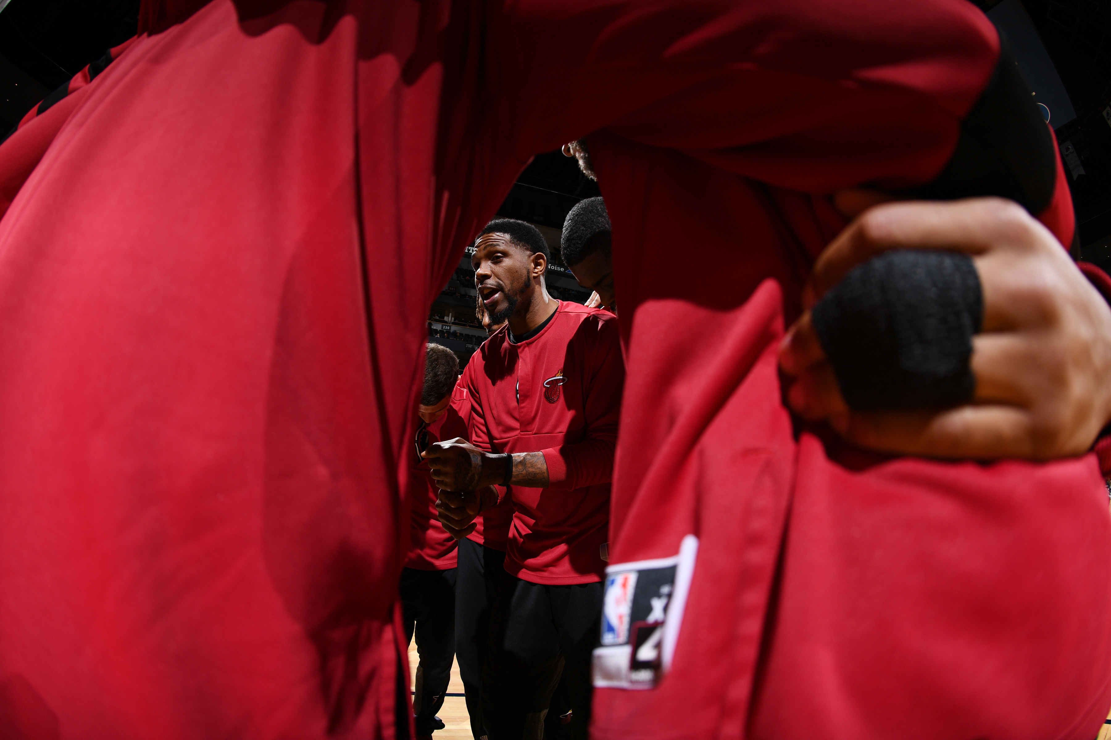 Udonis Haslem #40 of the Miami Heat huddles with the Miami Heat before the game against the Denver Nuggets on November 30, 2016 at the Pepsi Center in Denver, Colorado.