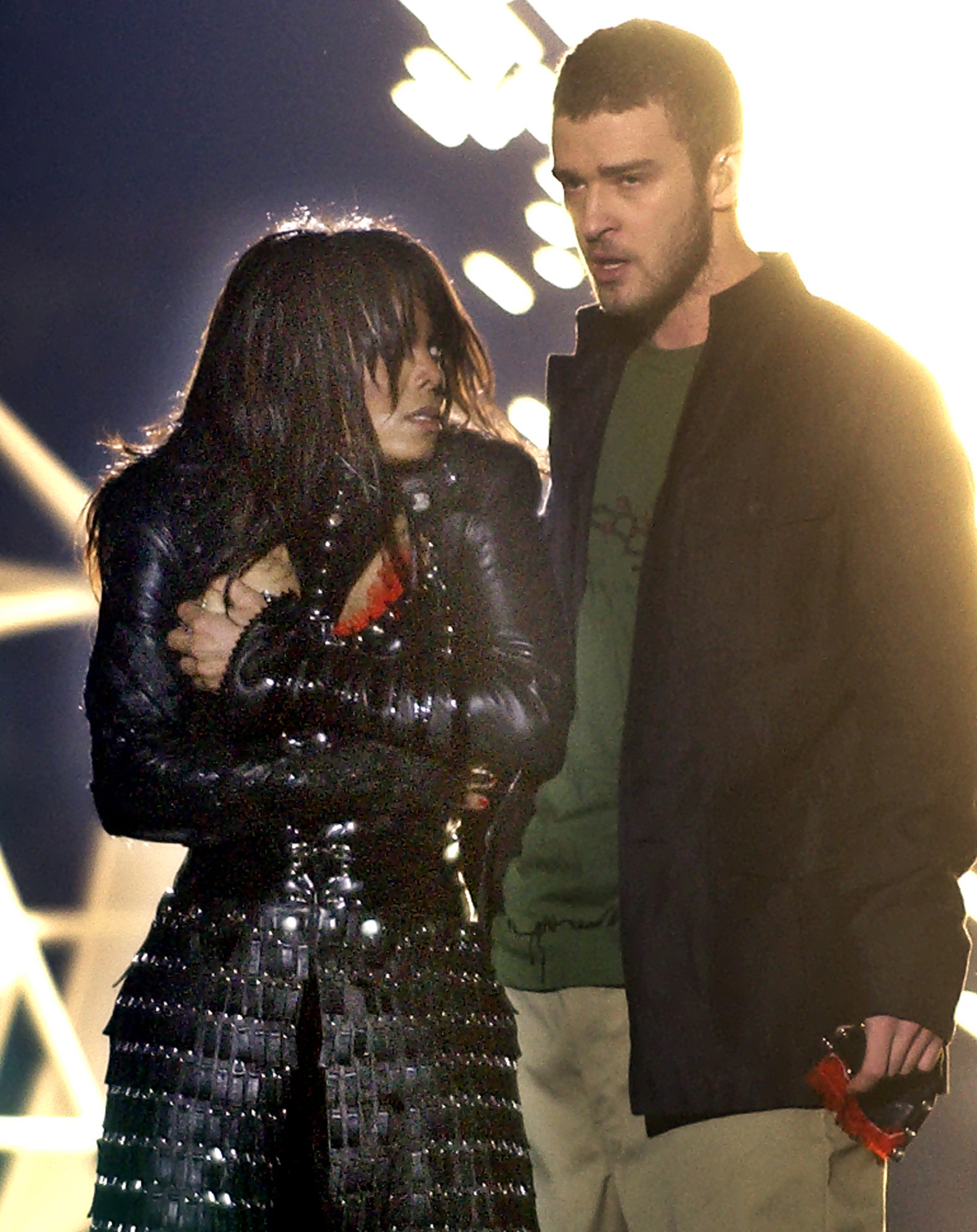 "Singer Janet Jackson covers her breast as Justin Timberlake holds part of her costume after her outfit came undone during a number during the halftime show of Super Bowl XXXVIII in Houston, in this Feb. 1, 2004 file photo. On Wednesday, Sept. 22, 2004, the Federal Communications Commission fined CBS a record $550,000 for Jackson's ""wardrobe malfunction,"" which exposed the singer's breast during this year's Super Bowl halftime show."