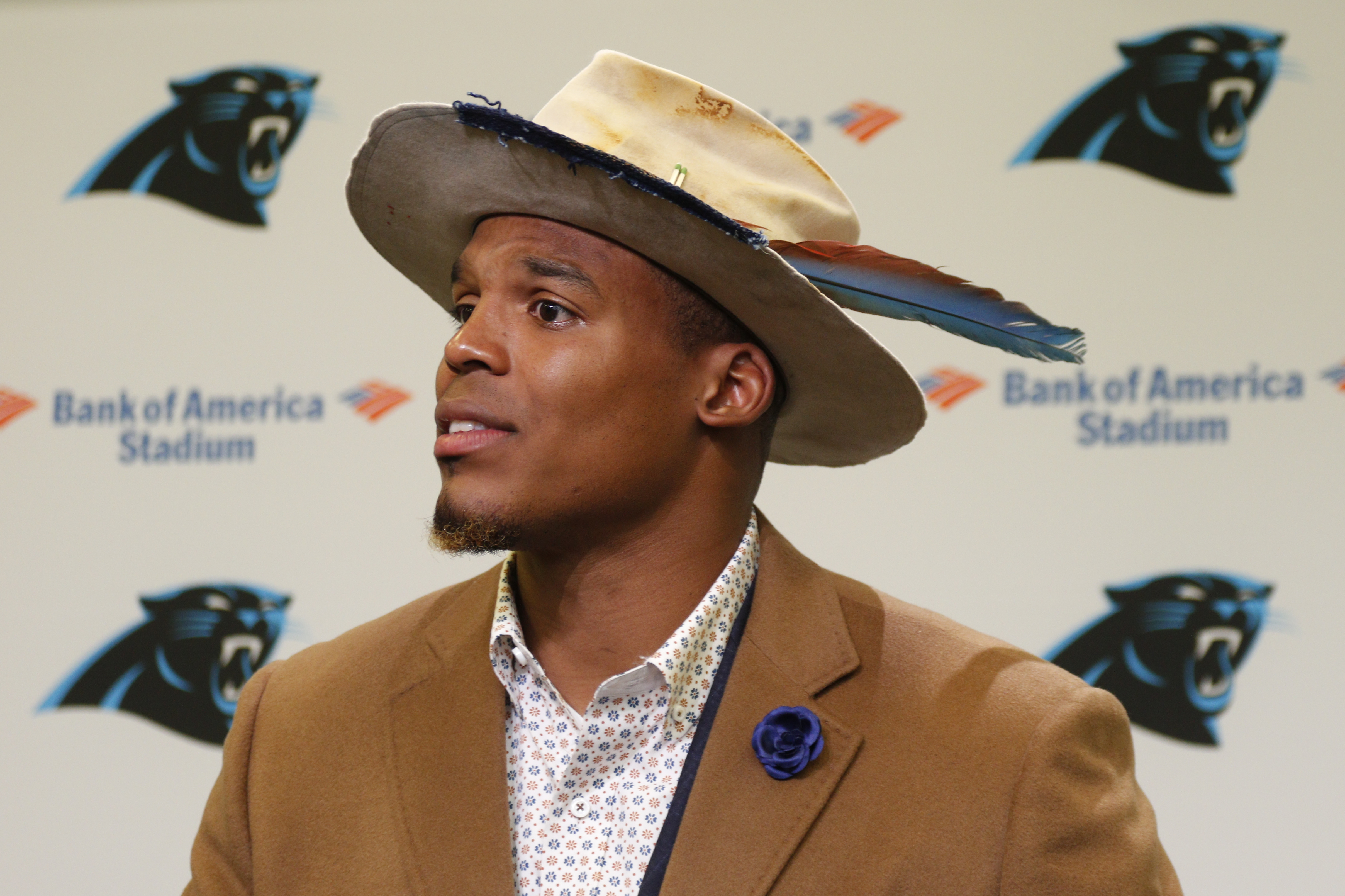 Carolina Panthers  Cam Newton speaks to the media after an NFL football  game against the New Orleans Saints in Charlotte 536770fd40