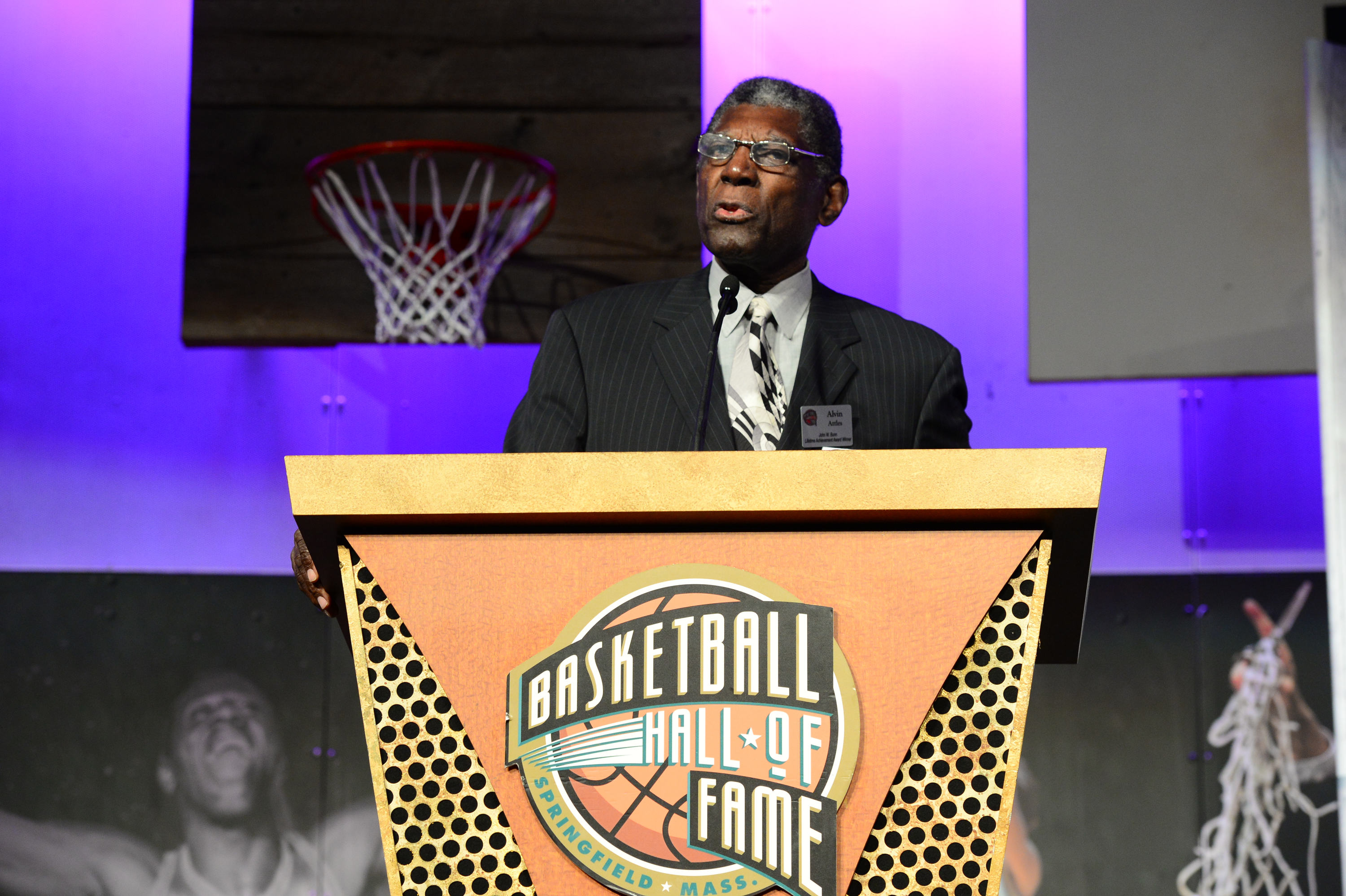 Al Attles, winner of the John W. Bunn Lifetime Achievement Award addresses the guests at the Family Reunion & Awards Dinner as part of the 2014 Basketball Hall of Fame Enshrinement Ceremony on August 7, 2014 at the Naismith Memorial Basketball Hall of Fame in Springfield, Massachusetts.
