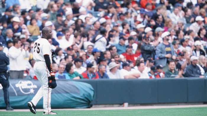 Barry Bonds of the San Francisco Giants looks on against the Los Angeles Dodgers at AT&T Park on October 7, 2001 in San Francisco, California.