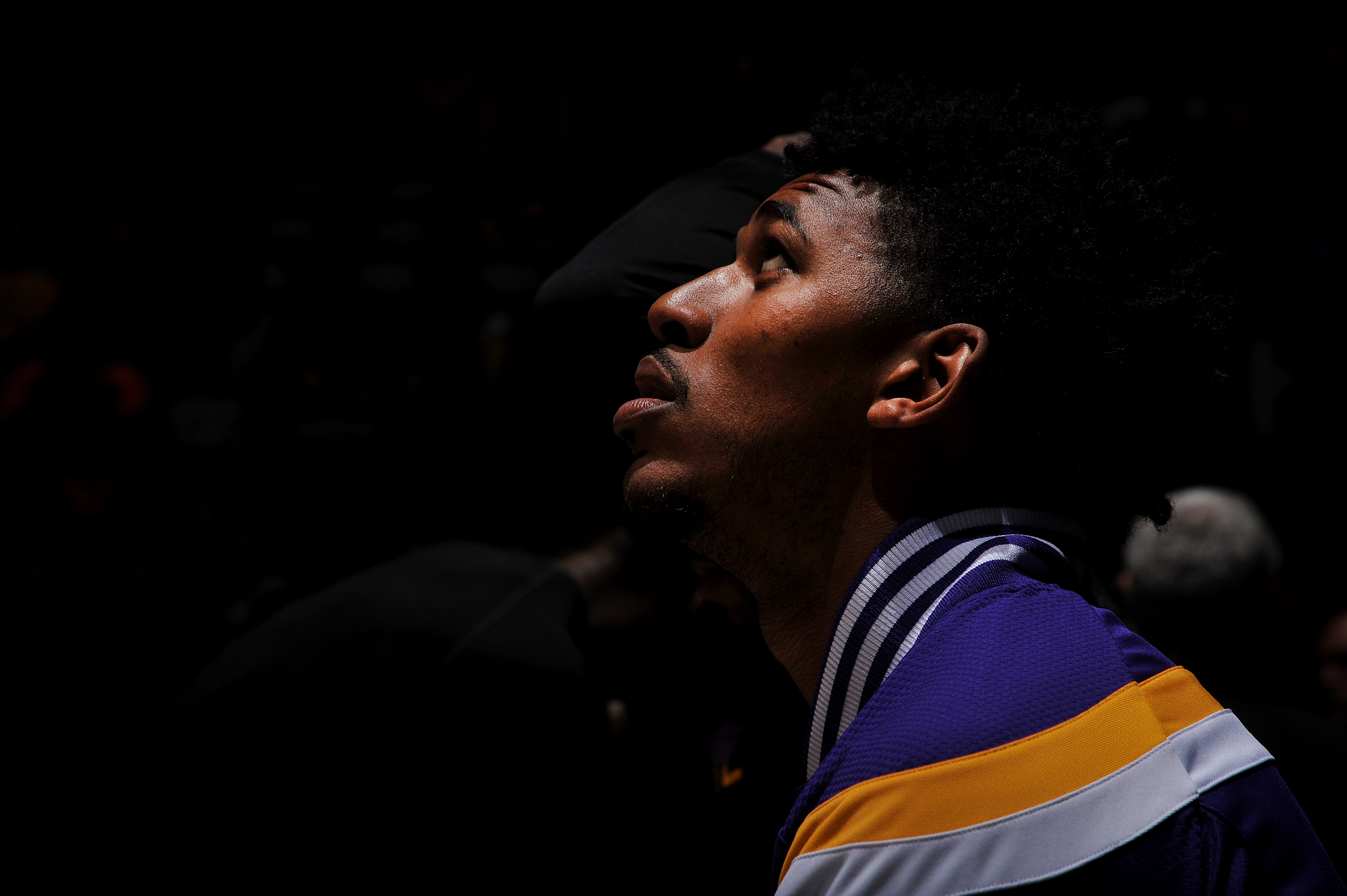 Nick Young #0 of the Los Angeles Lakers before the game against the Denver Nuggets on December 30, 2014 at the Pepsi Center in Denver, Colorado.
