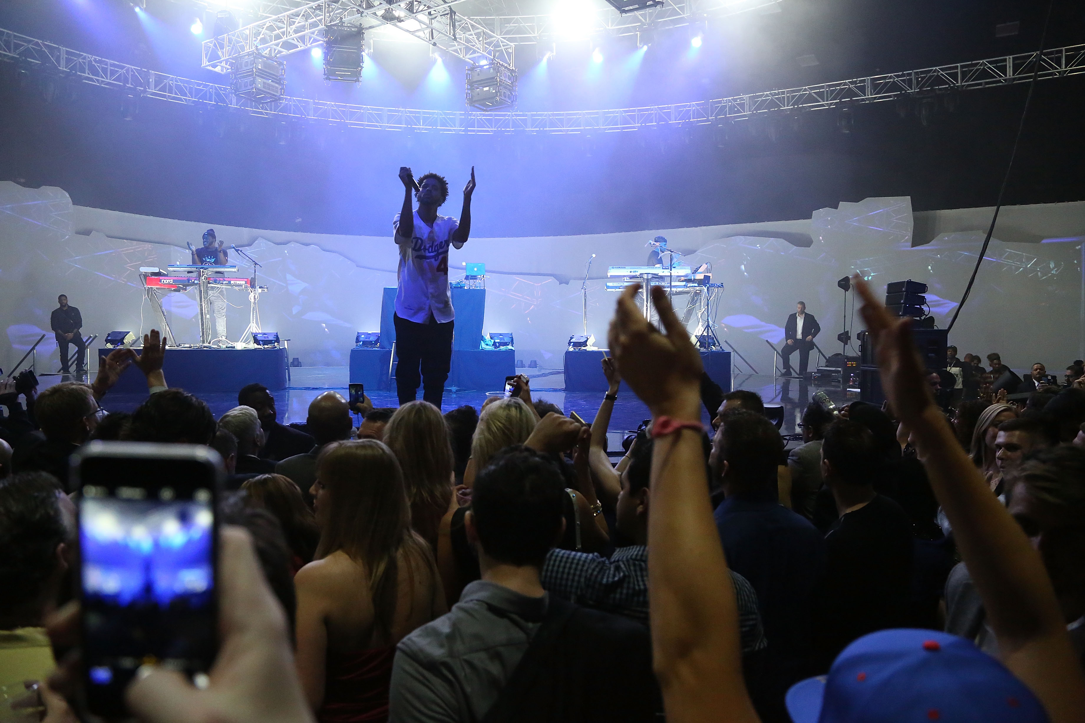 J. Cole performs during the 2015 ESPN The Party at Westworld on January 30, 2015 in Scottsdale, Arizona.