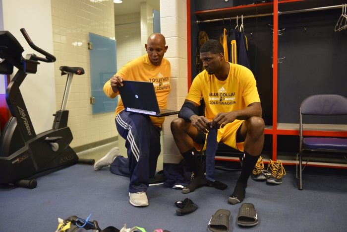 WASHINGTON, DC - MAY 09: Roy Hibbert #55 and assistant coach Popeye Jones of the Indiana Pacers prepare before Game Three of the Eastern Conference Semifinals against the Washington Wizards at Verizon Center on May 9, 2014 in Washington, DC. (Photo by David Dow/NBAE via Getty Images)