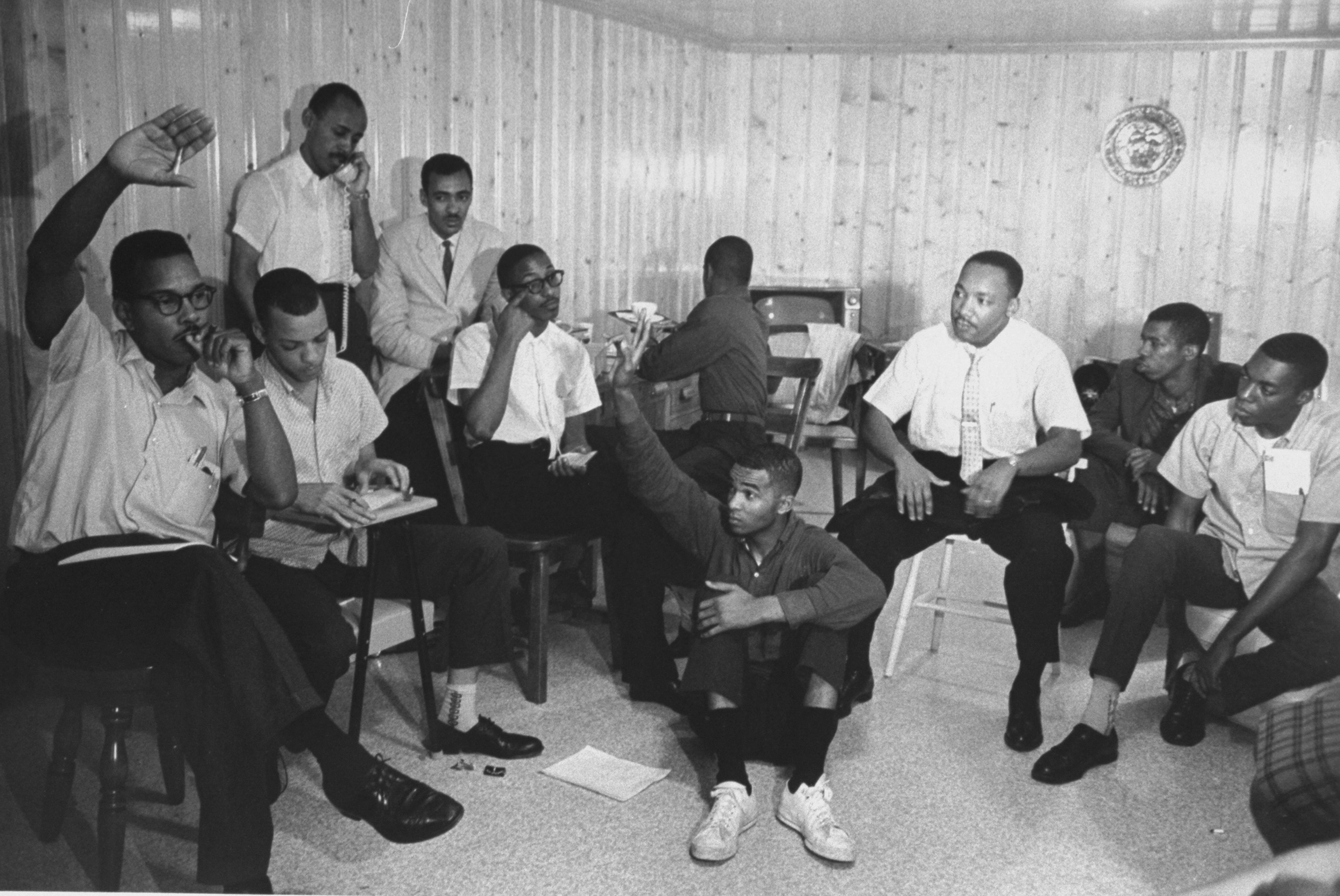 Rev. Martin Luther King, Jr. (3R) participating in planning session for Freedom Riders' bus trip from Montgomery, Alabama to Jackson, Mississippi.