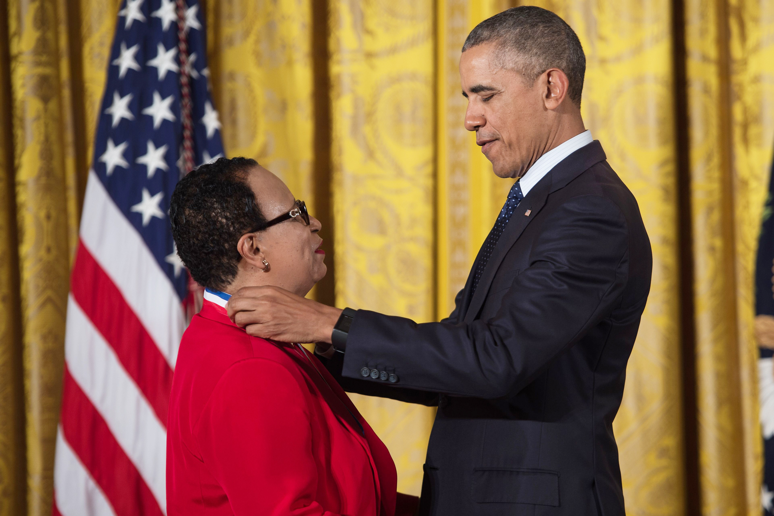 President Barack Obama awards the National Medal of Science to Dr. Shirley Ann Jackson, for her work in condensed matter physics and particle physics and her science-rooted public policy achievements, at the White House May 19, 2016.
