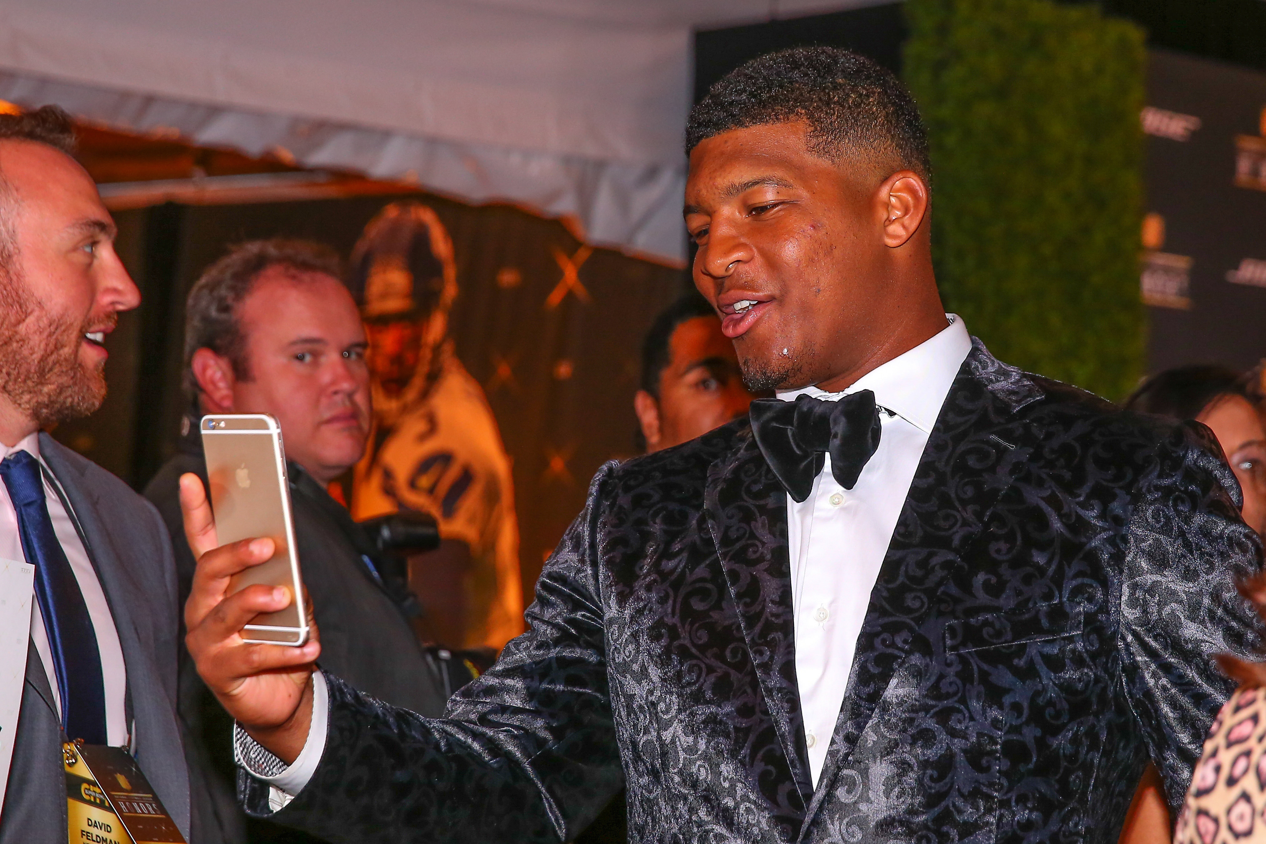 Tampa Bay Buccaneers quarterback Jameis Winston on the Red Carpet for the 5th Annual NFL Honors at the Bill Graham Civic Auditorium in San Francisco California.