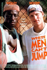 One Sheet movie poster advertises 'White Men Can't Jump' (20th Century Fox), a basketball sports comedy starring Wesley Snipes, Woody Harrelson, Tyra Ferrell, and Rosie Perez, Los Angeles, California, 1992. (Photo by John D. Kisch/Separate Cinema Archive/Getty Images)