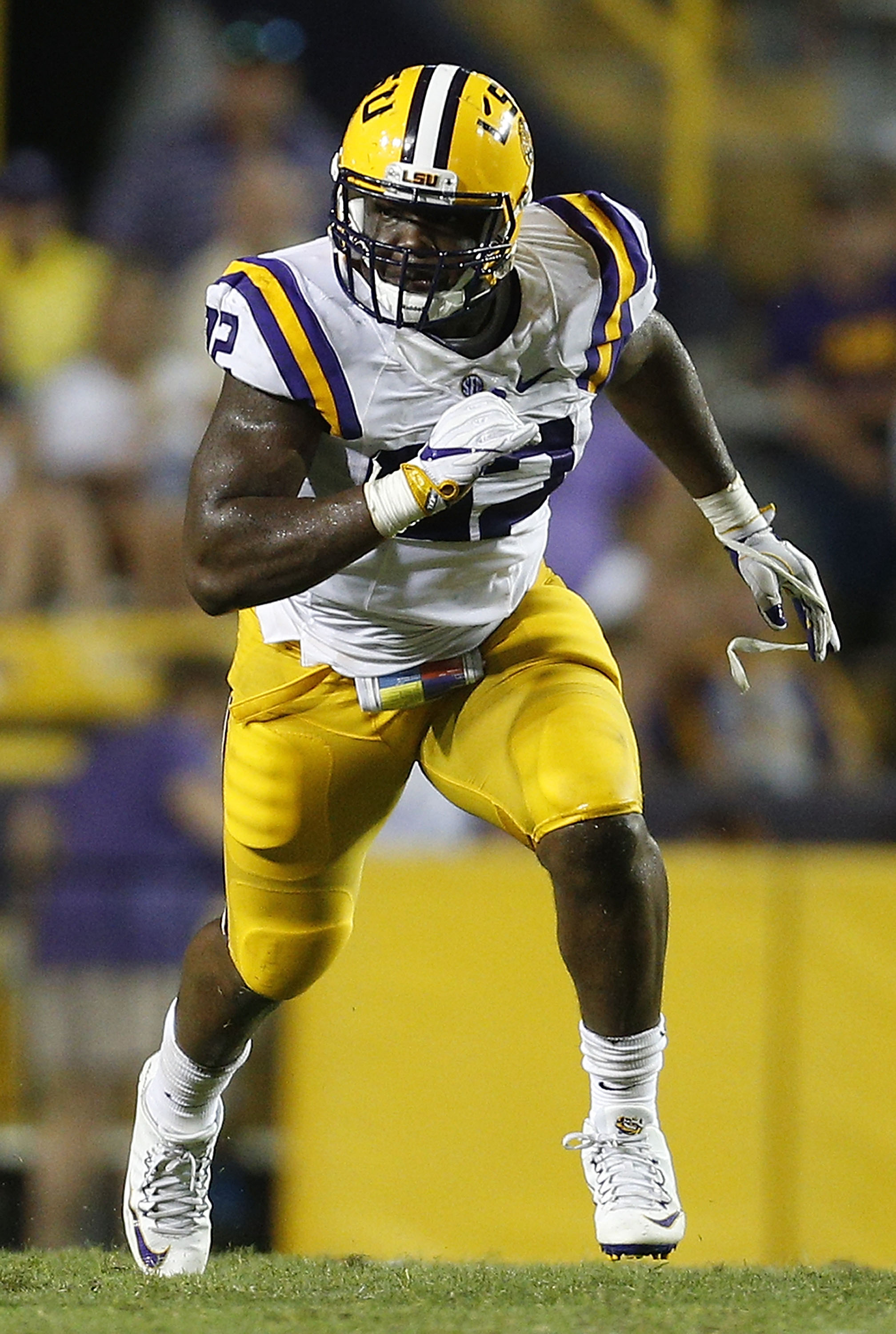 Lewis Neal #92 of the LSU Tigers defends during a game at Tiger Stadium on September 10, 2016 in Baton Rouge, Louisiana.