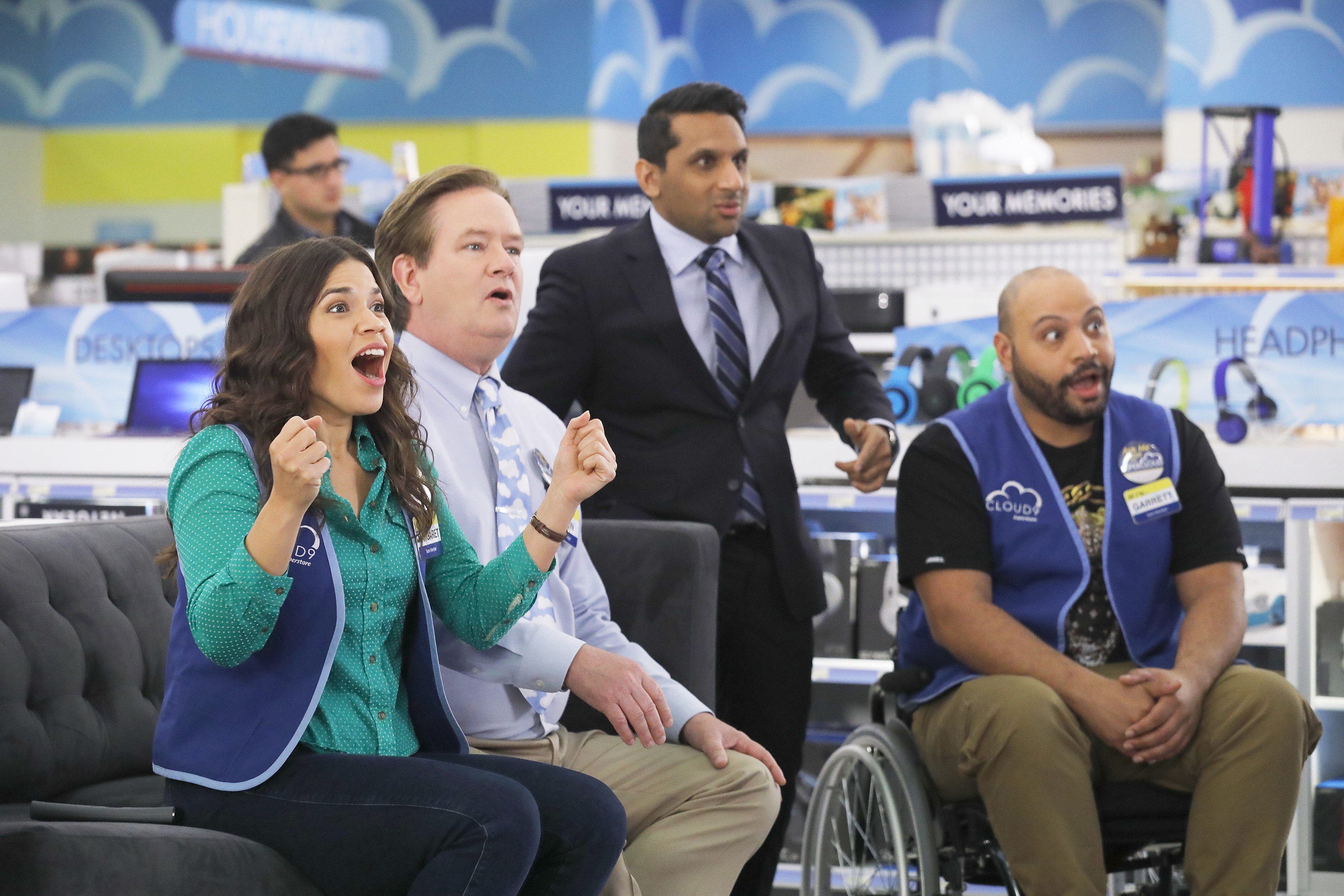 America Ferrera as Amy, Mark McKinney as Glenn, Ravi Patel as Rex, Colton Dunn as Garrett