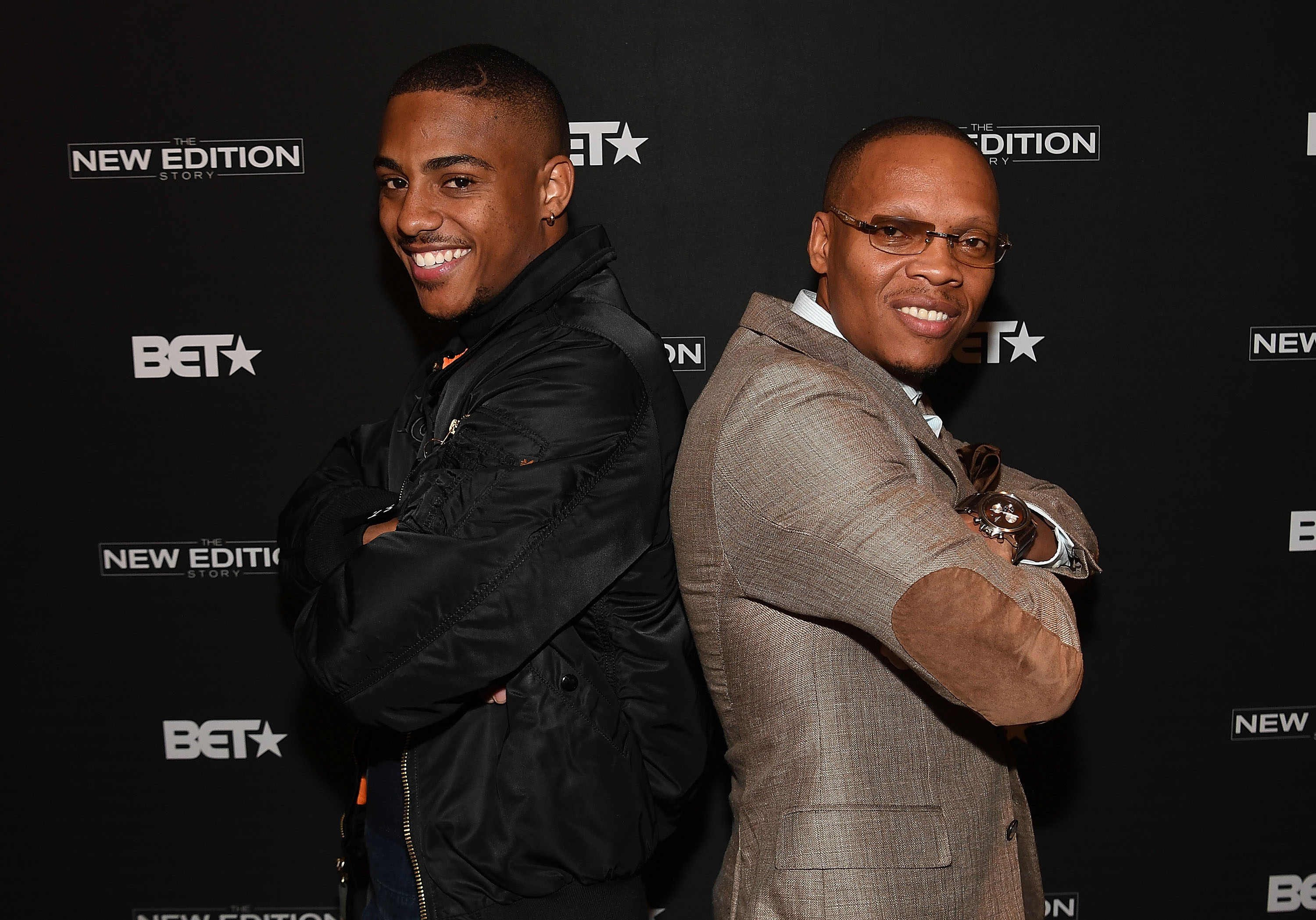 "Actor Keith Powers and singer Ronnie Devoe of New Edition attend BET's Atlanta screening of ""The New Edition Story"" at AMC Parkway Pointe on January 5, 2017 in Atlanta, Georgia."