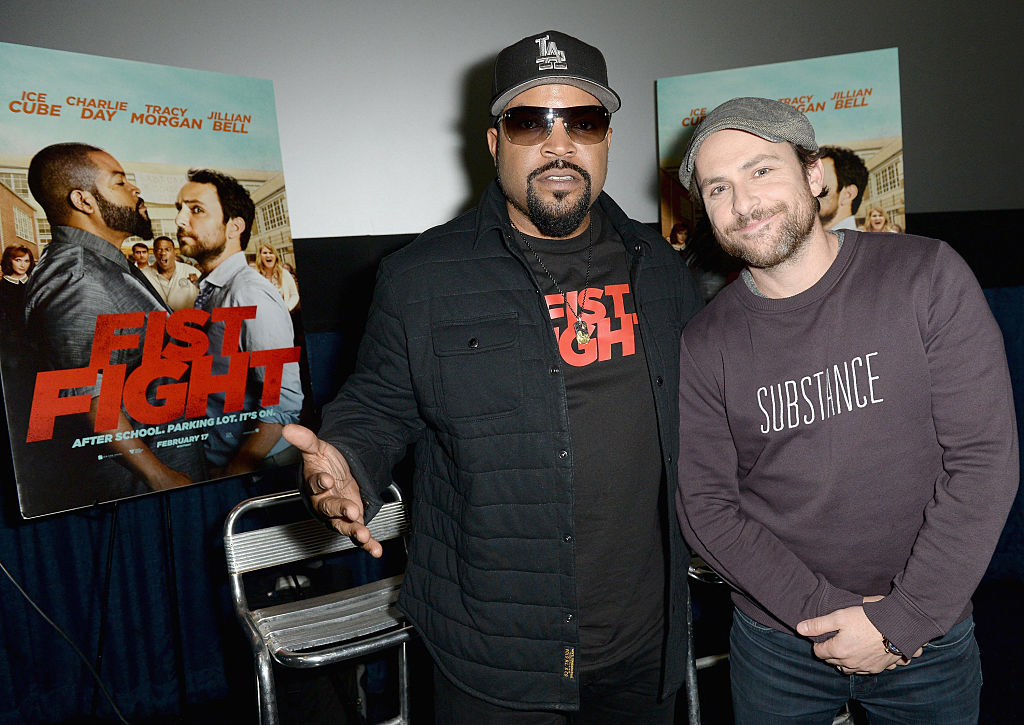 "Ice Cube and Charlie Day attends the Warner Bros.special screening of ""Fist Fight"" on January 10, 2017 in Miami, Florida."